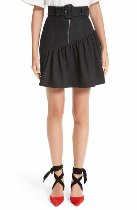 Rejina Pyo Belted Ruffle Denim Miniskirt Buy