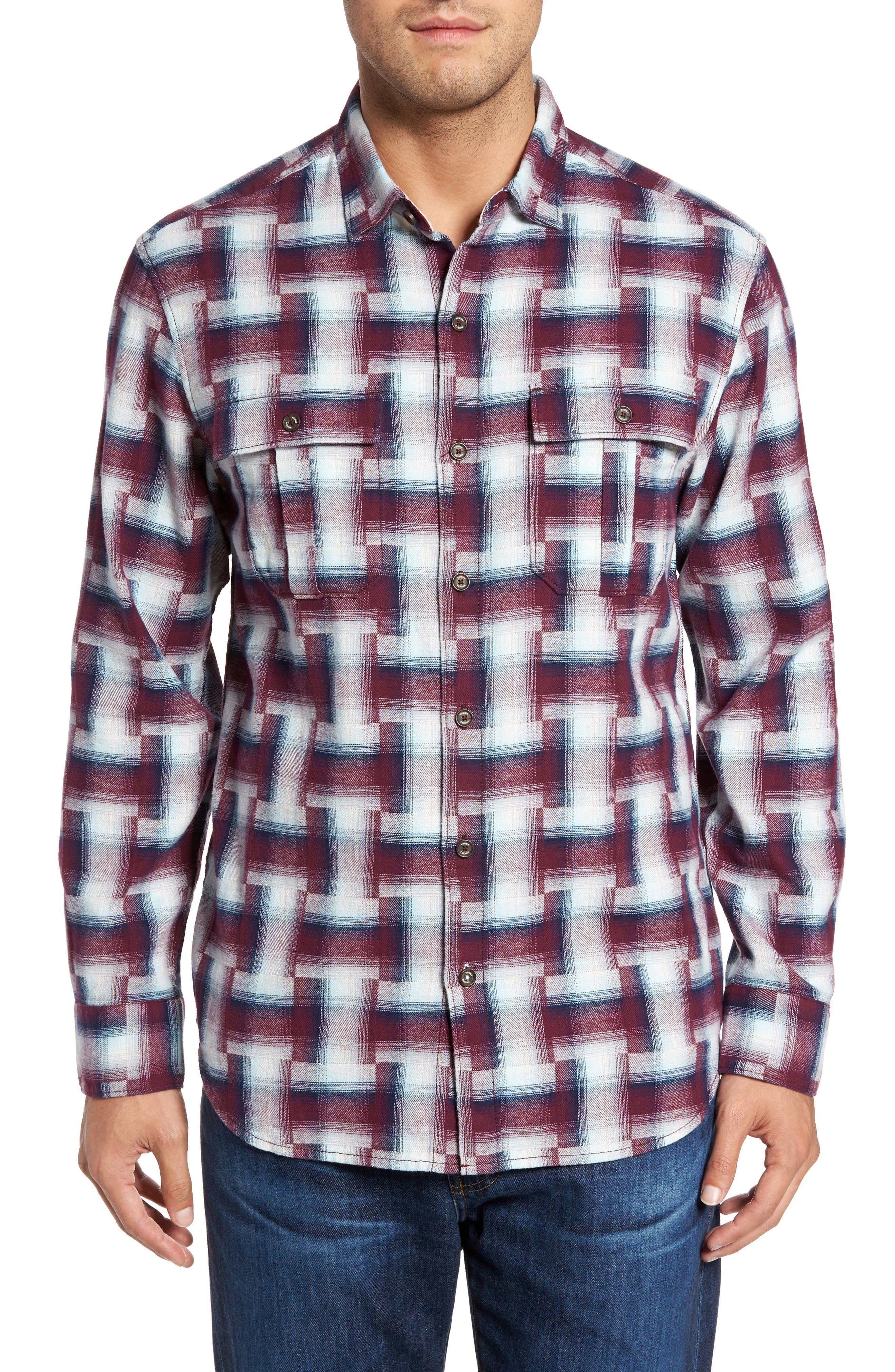 Boogie Print Sport Shirt,                         Main,                         color, Ruby Wine