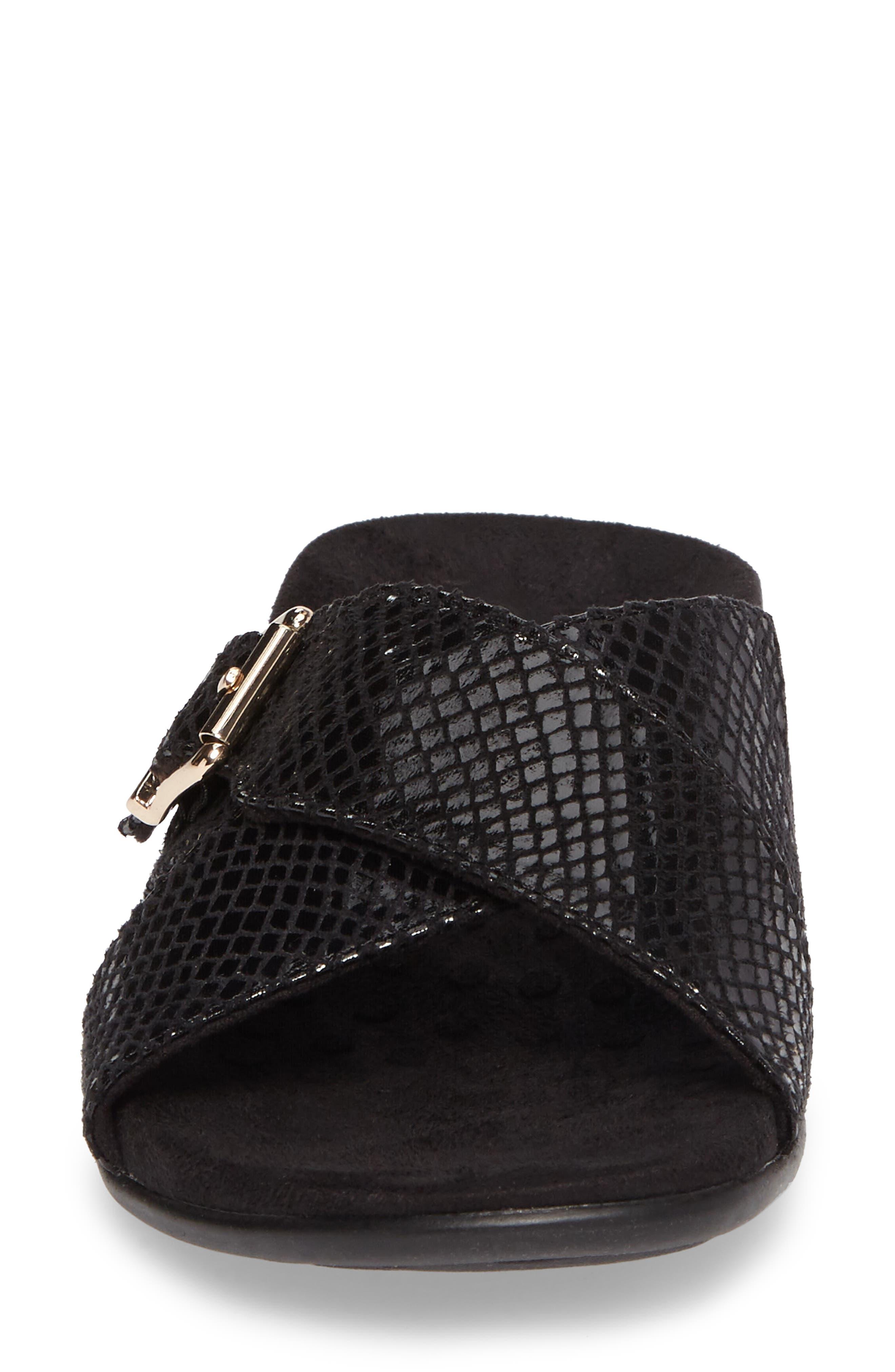 Dorie Cross Strap Slide Sandal,                             Alternate thumbnail 4, color,                             Black Snake Faux Leather