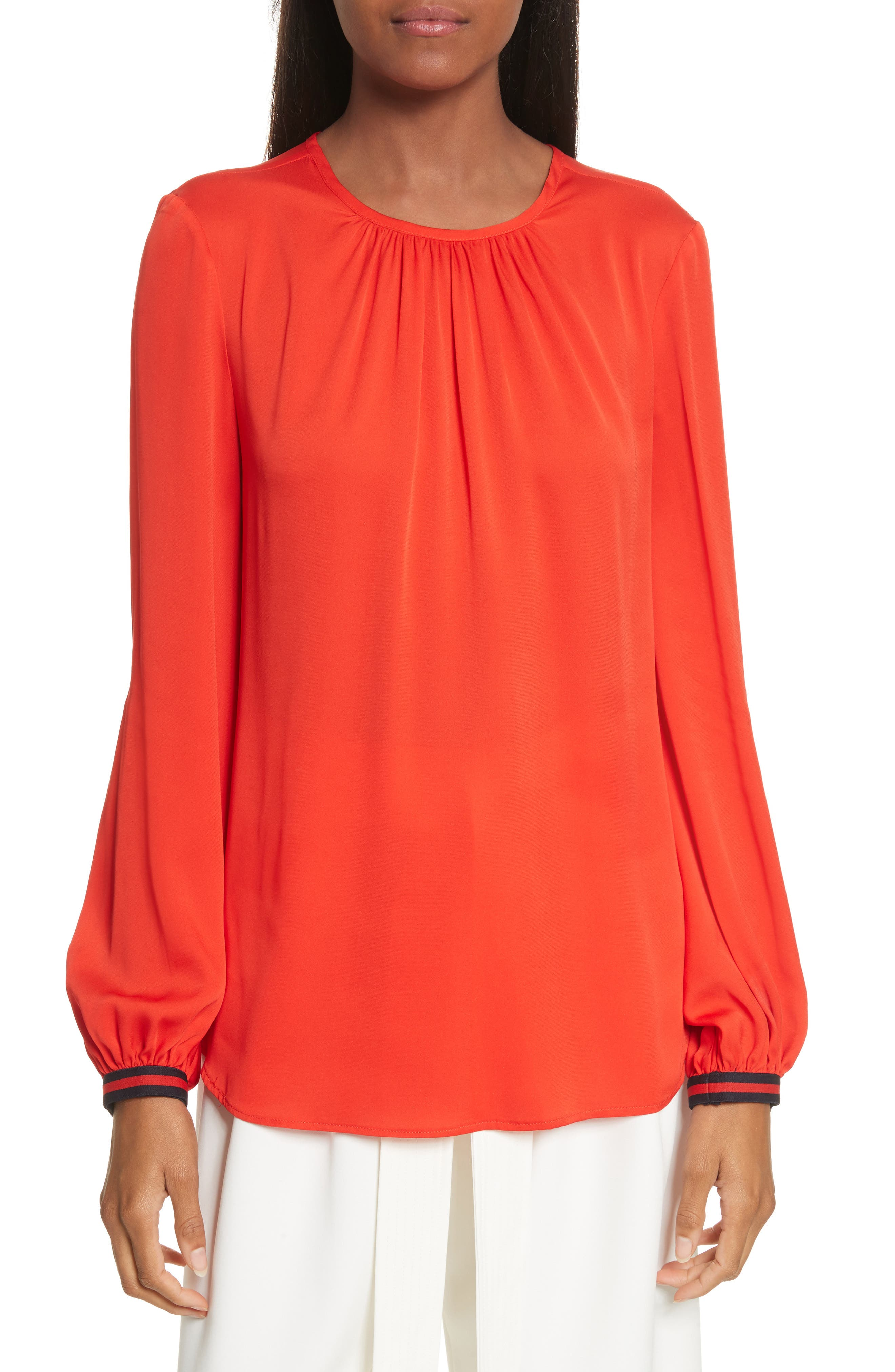 Mandy Stretch Silk Top,                             Main thumbnail 1, color,                             Poppy