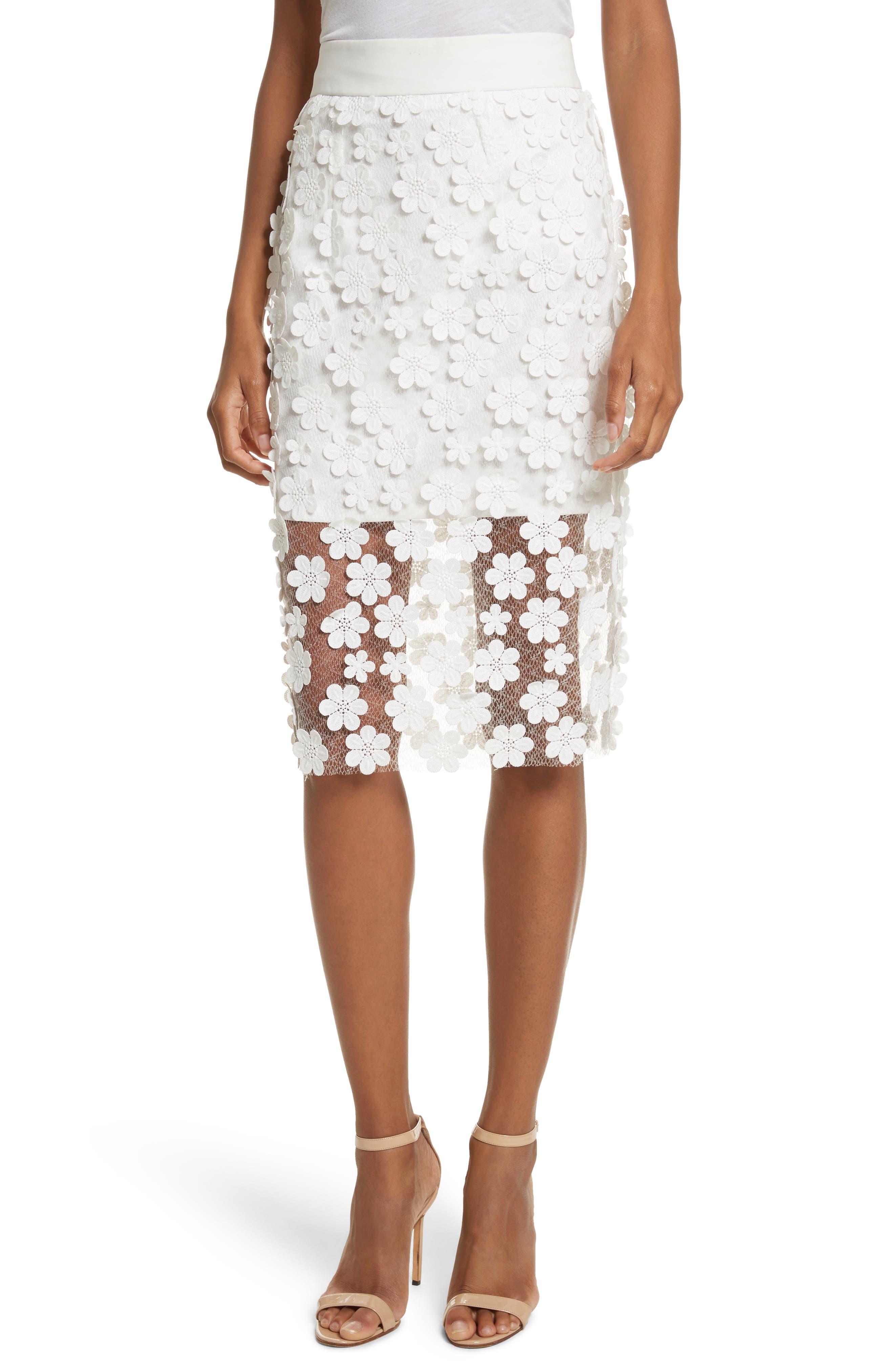 Floral Appliqué Skirt,                             Main thumbnail 1, color,                             White