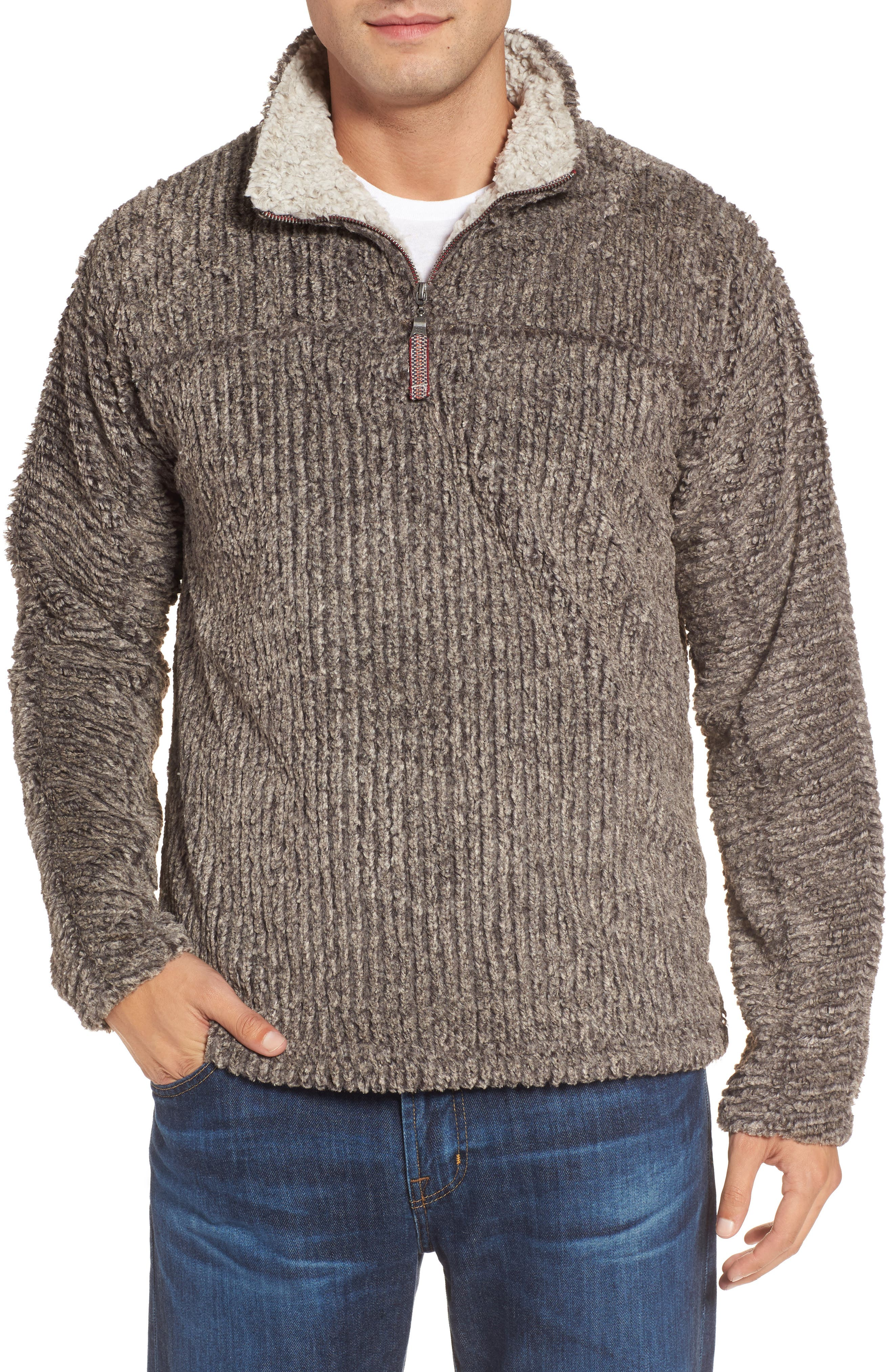 Frosty Cord Pile Quarter Zip Pullover,                             Main thumbnail 1, color,                             Brown