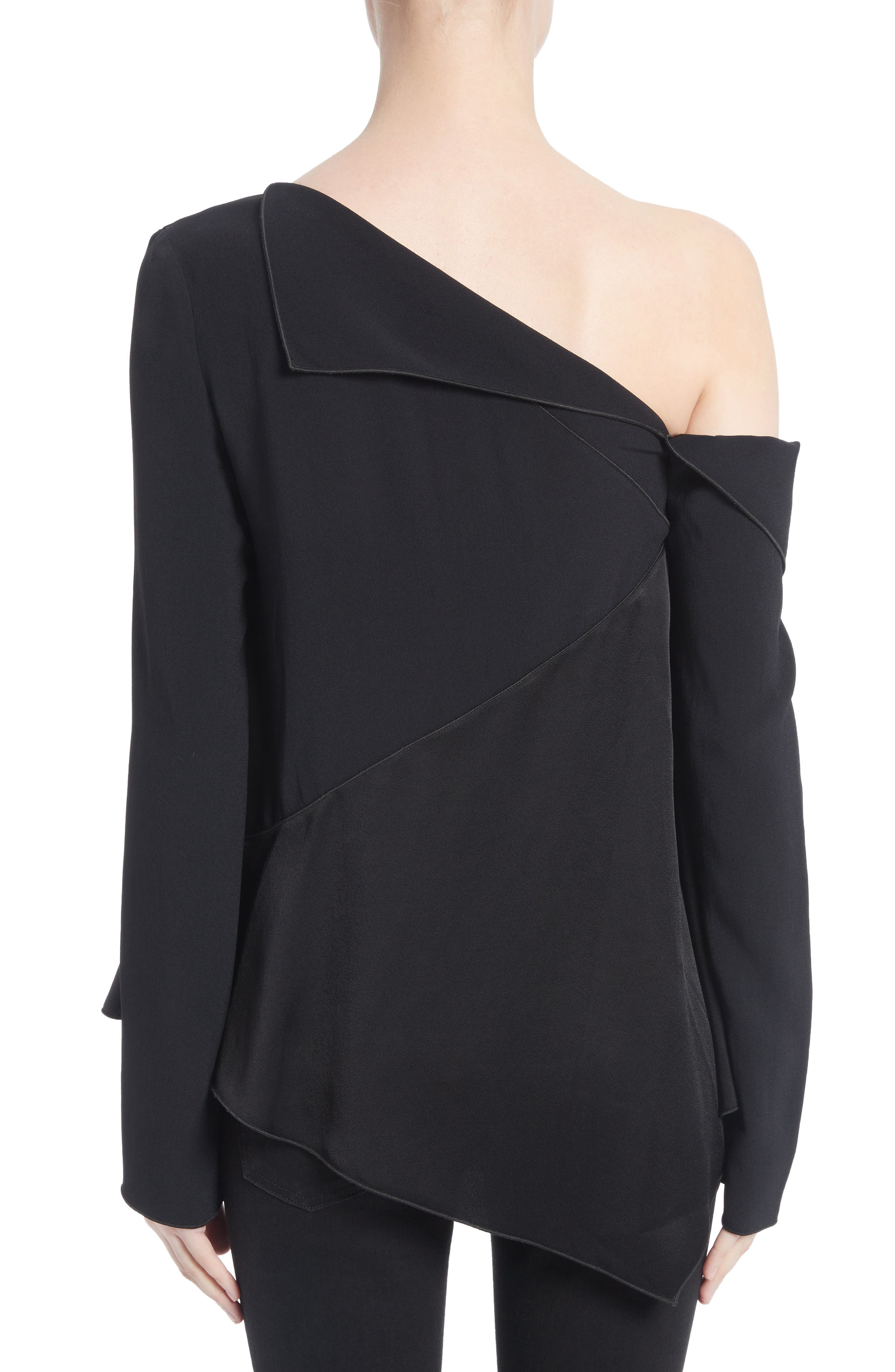 Single Shoulder Satin Back Crepe Blouse,                             Alternate thumbnail 2, color,                             Black