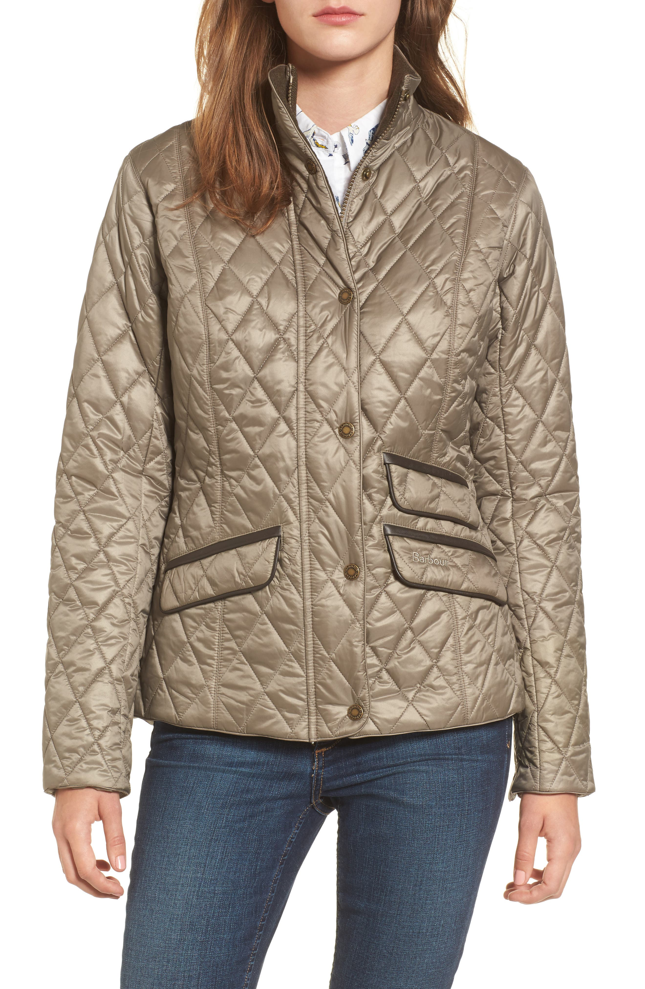 Augustus Water Resistant Quilted Jacket,                             Main thumbnail 1, color,                             Taupe