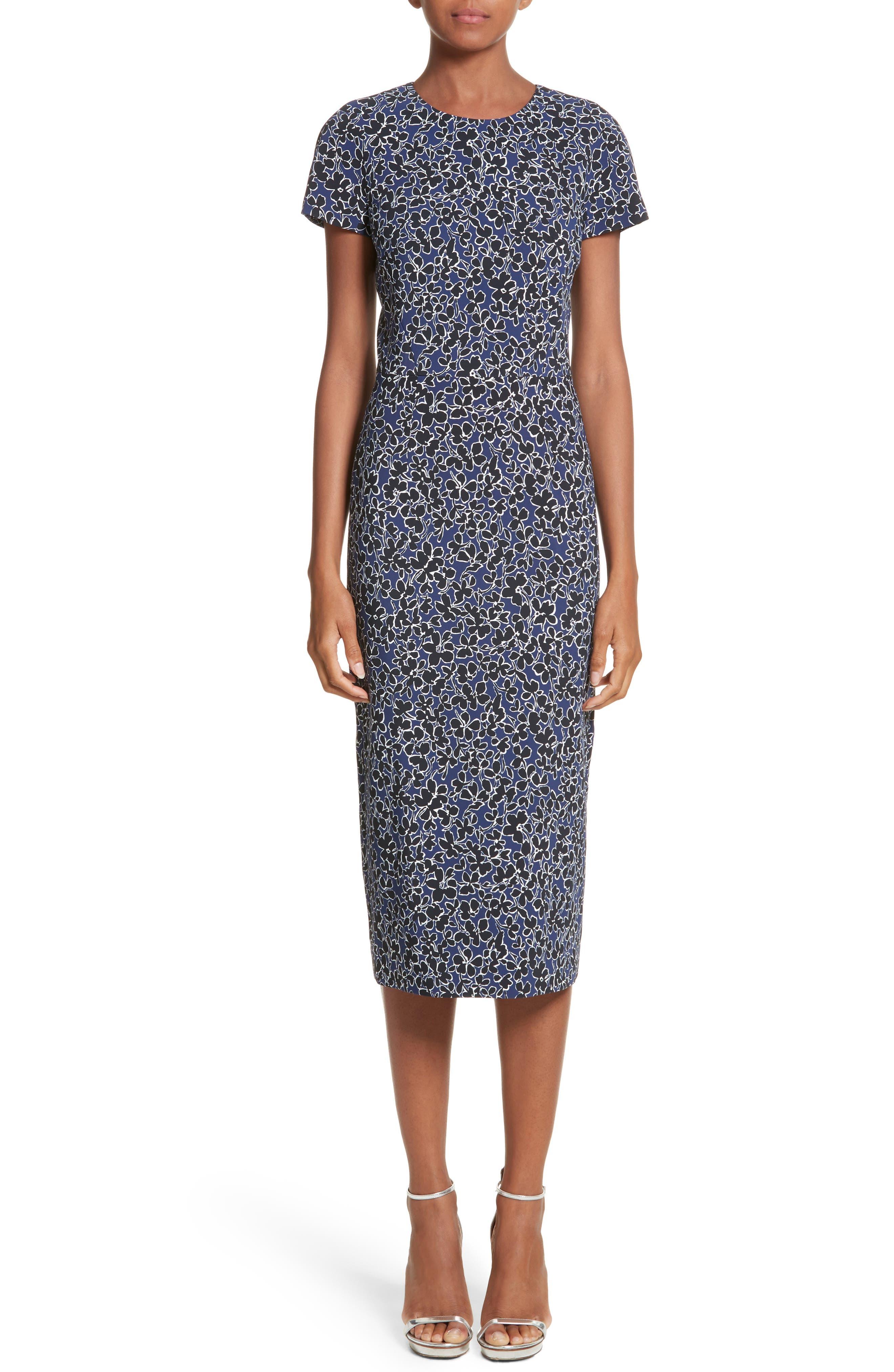 Floral T-Shirt Sheath Dress,                             Main thumbnail 1, color,                             Sapphire