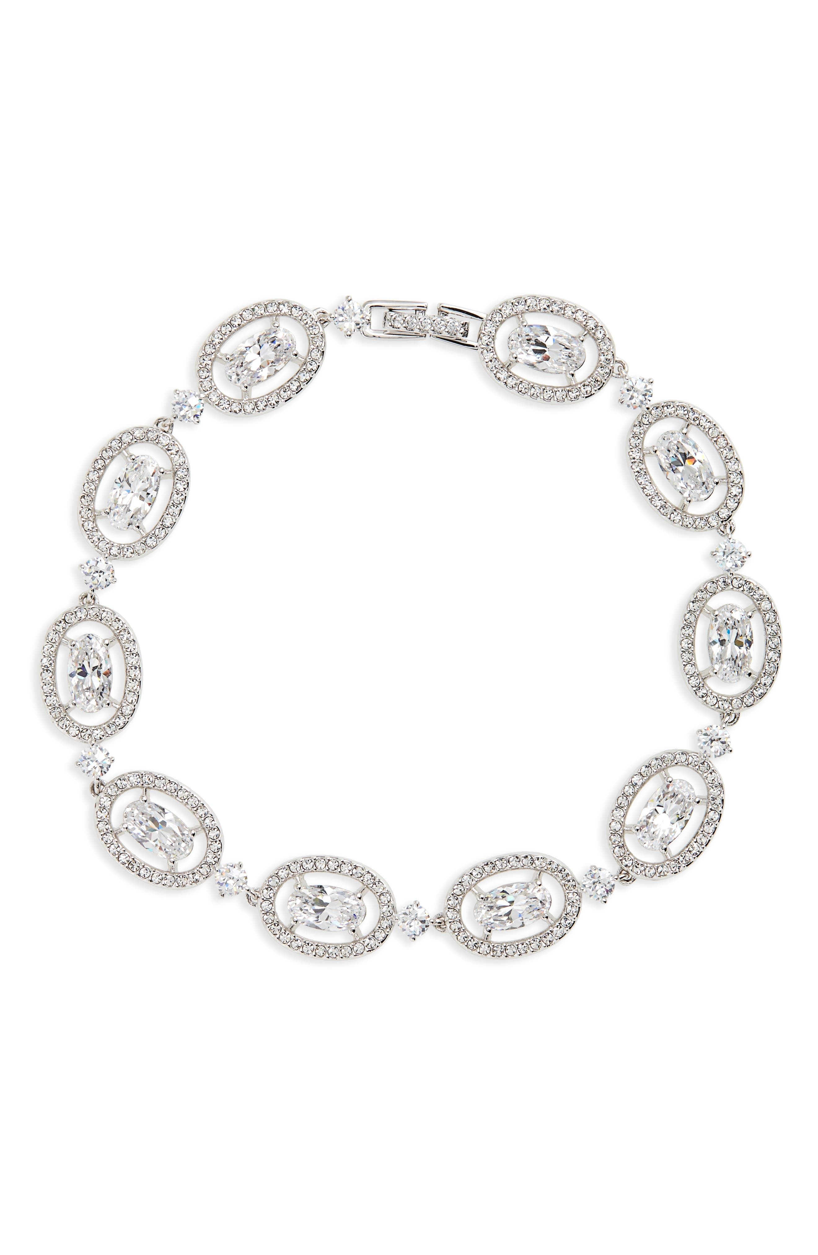 Crystal Halo Bracelet,                             Main thumbnail 1, color,                             Silver
