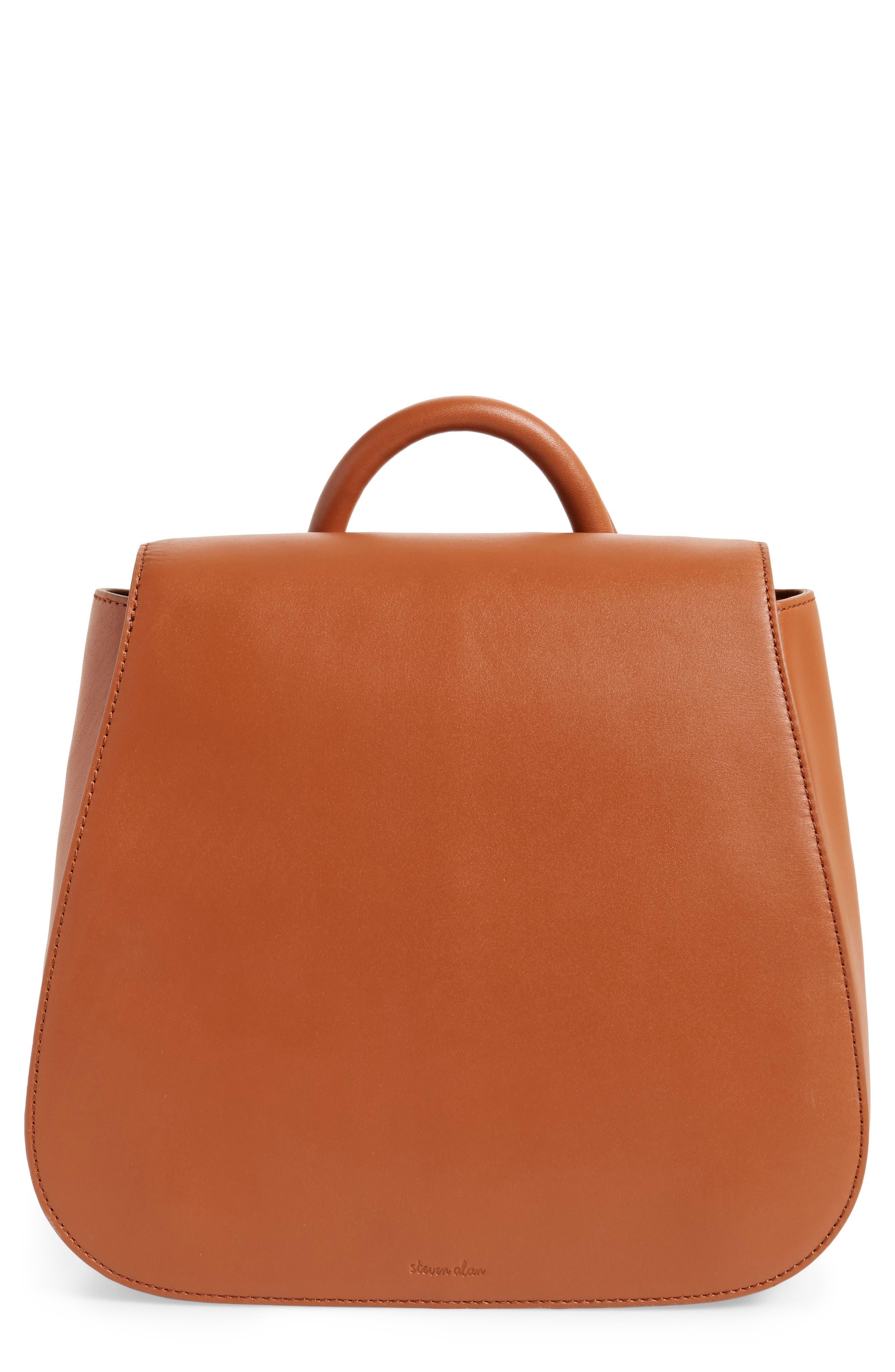 Kate Calfskin Leather Backpack,                         Main,                         color, Saddle