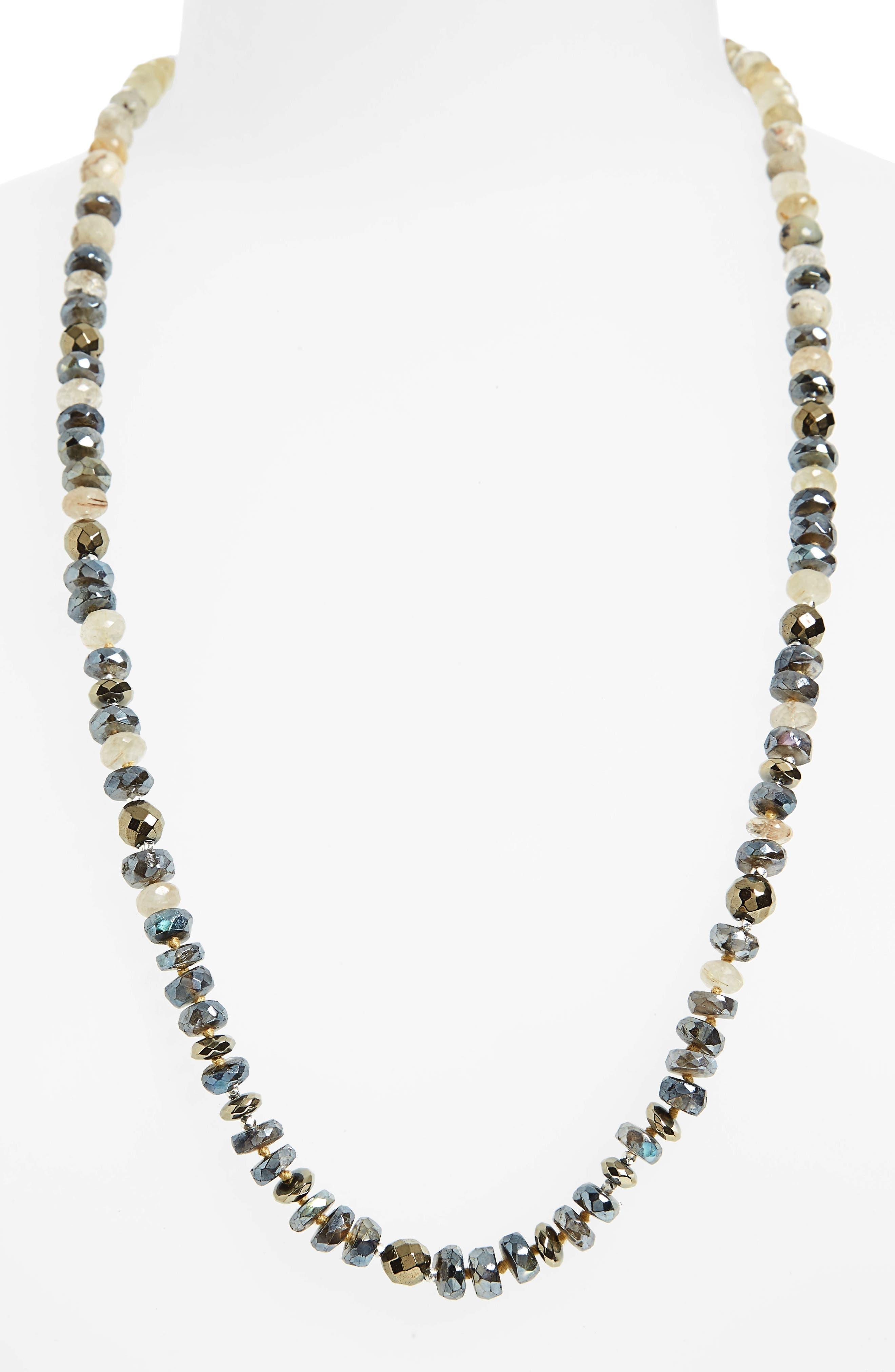 Semiprecious Stone Adjustable Necklace,                             Main thumbnail 1, color,                             Pyrite
