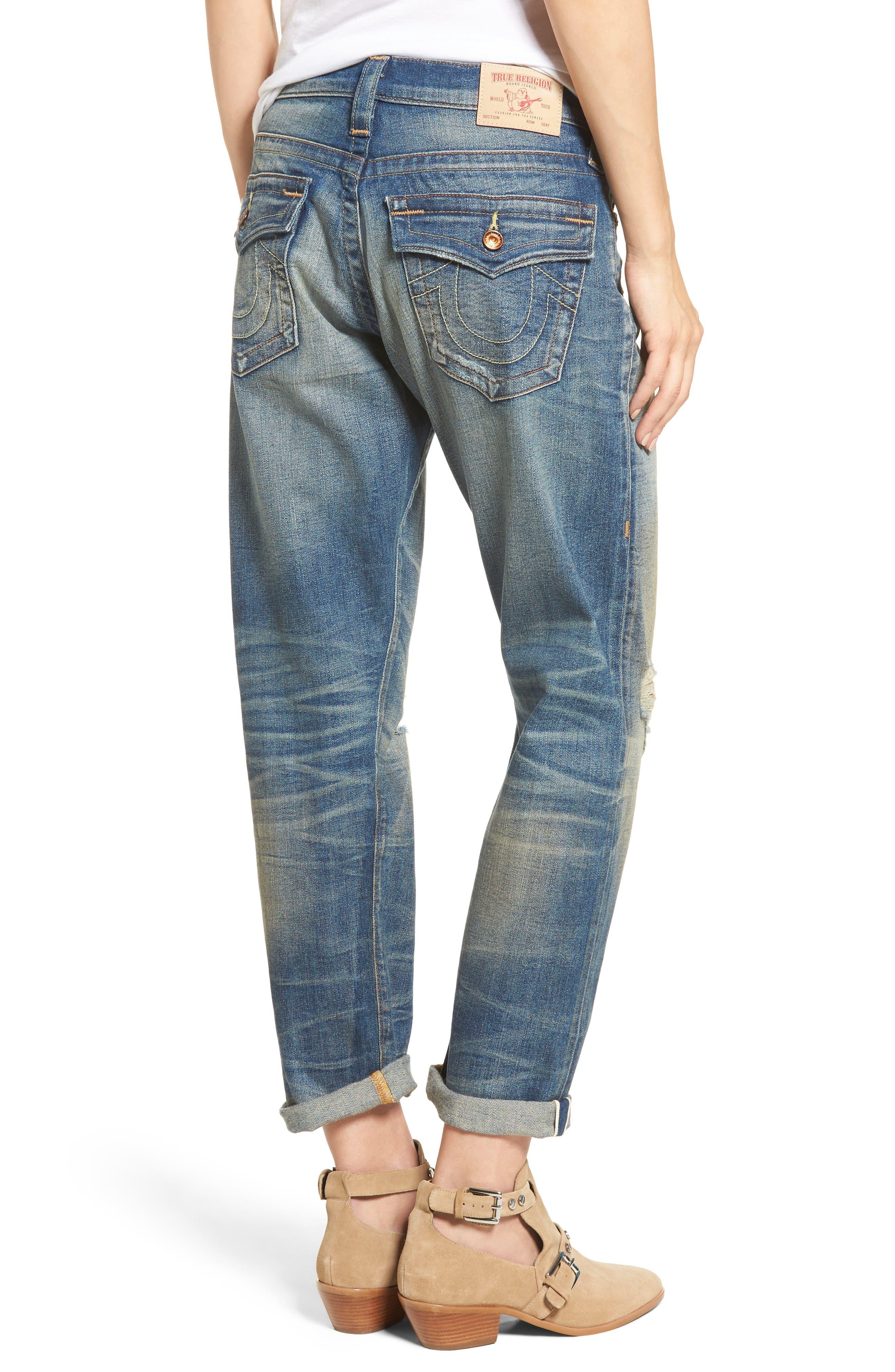 Cameron Slim Boyfriend Jeans,                             Alternate thumbnail 5, color,                             Indigo Legacy
