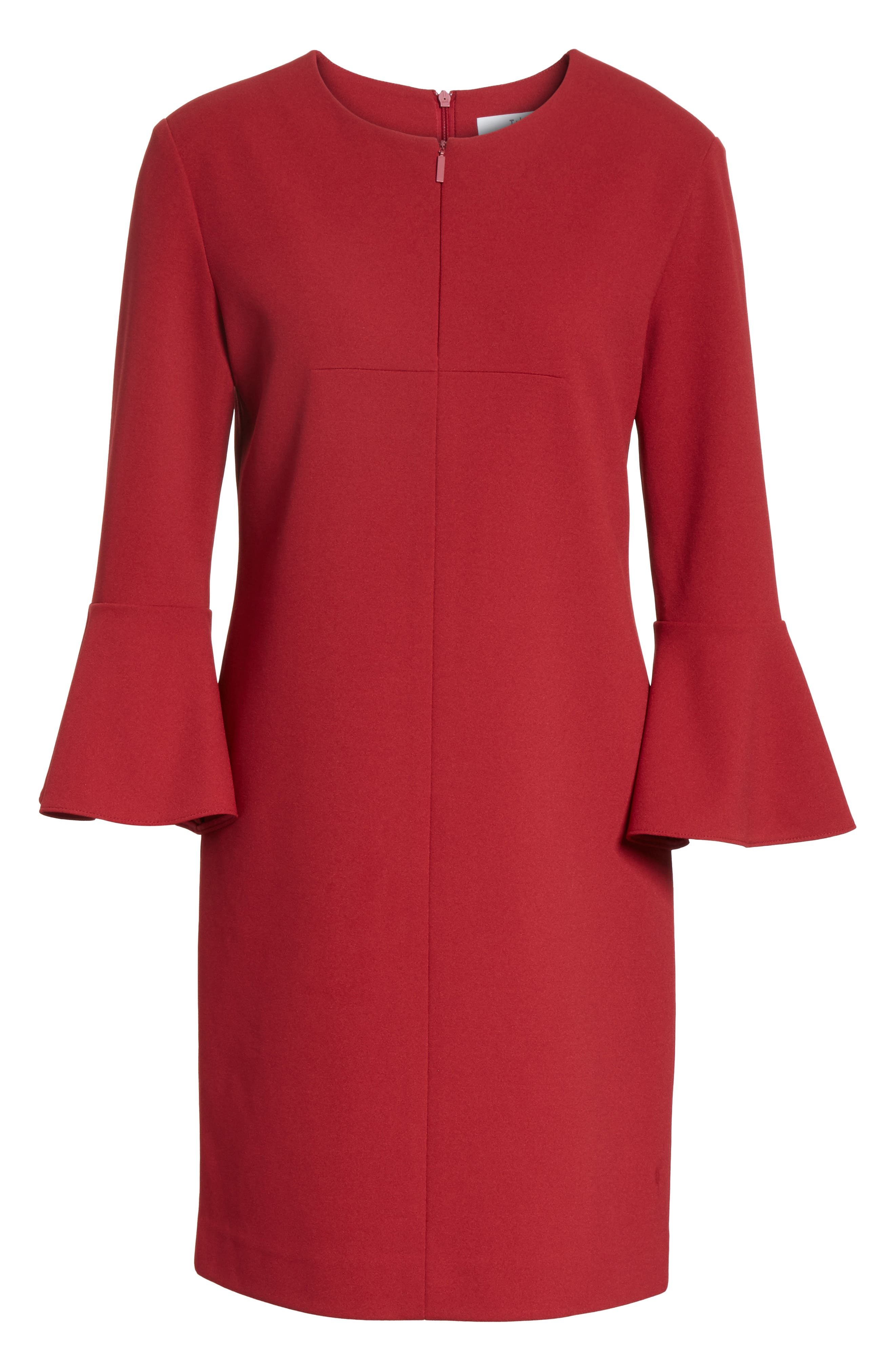 Bell Cuff Stretch Crepe Dress,                             Alternate thumbnail 6, color,                             Burnt Red