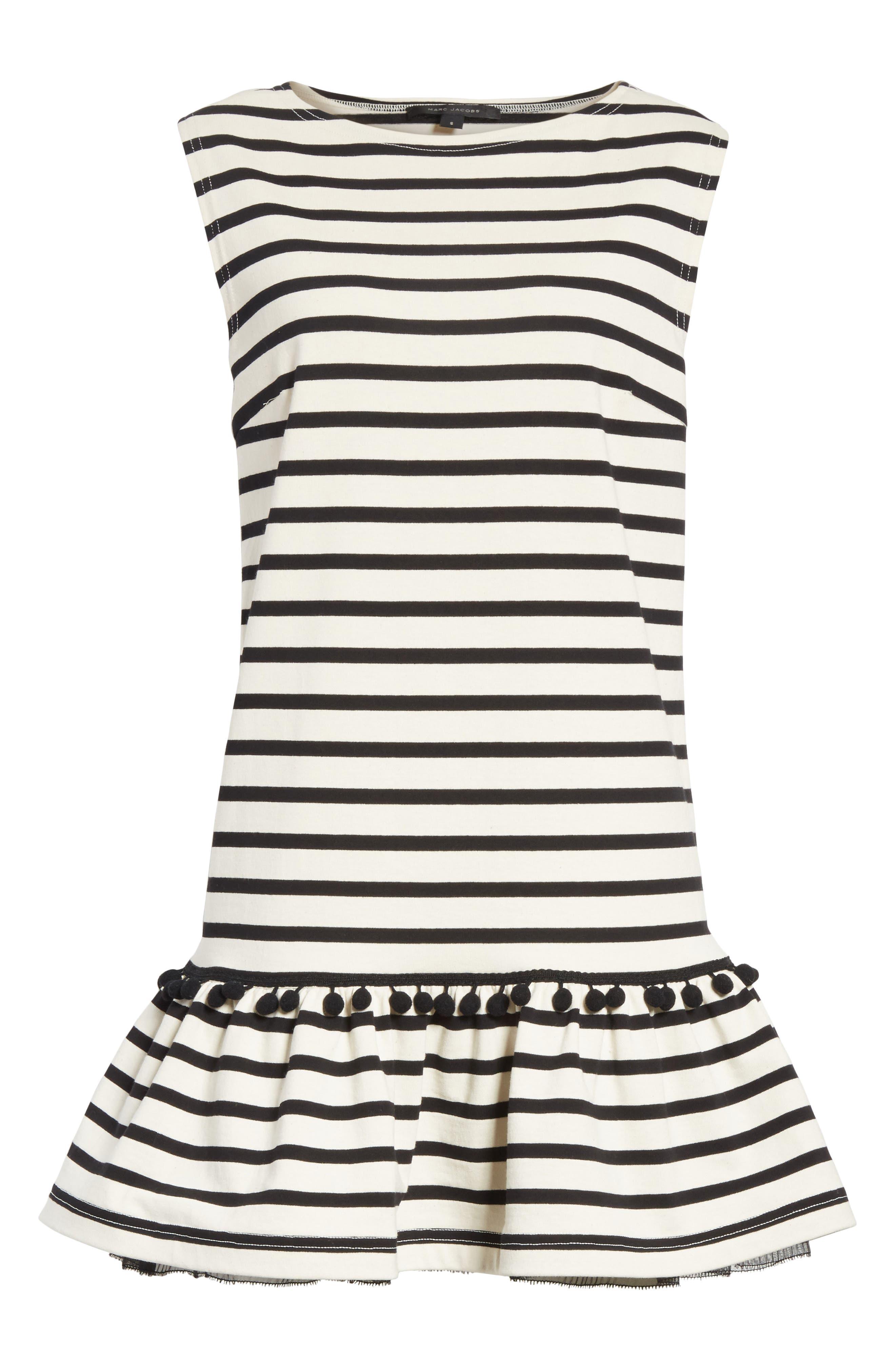 Pompom Stripe Drop Waist Dress,                             Alternate thumbnail 7, color,                             Ecru/ Black