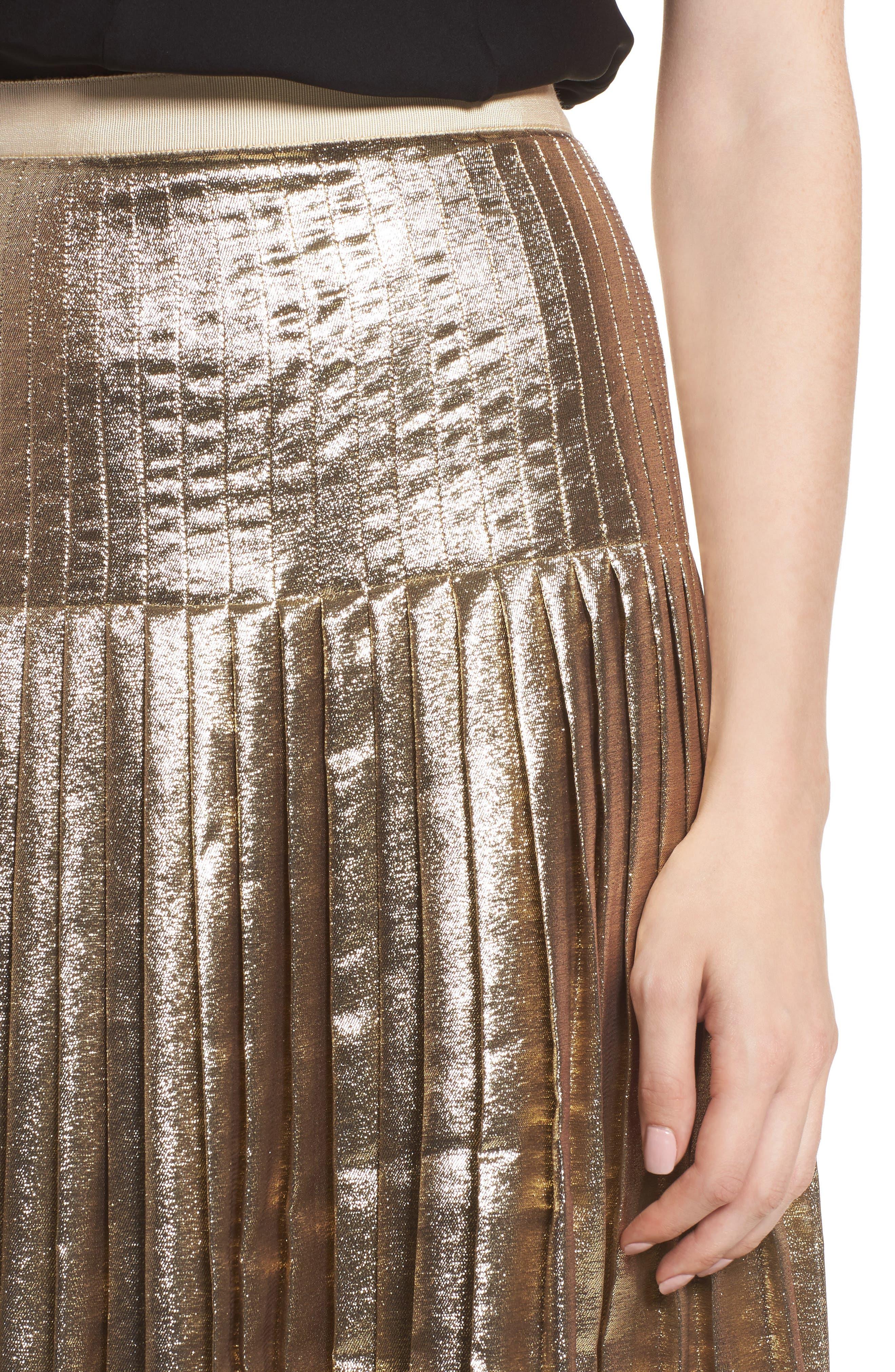 Alternate Image 4  - Lewit Pleated Metallic Skirt