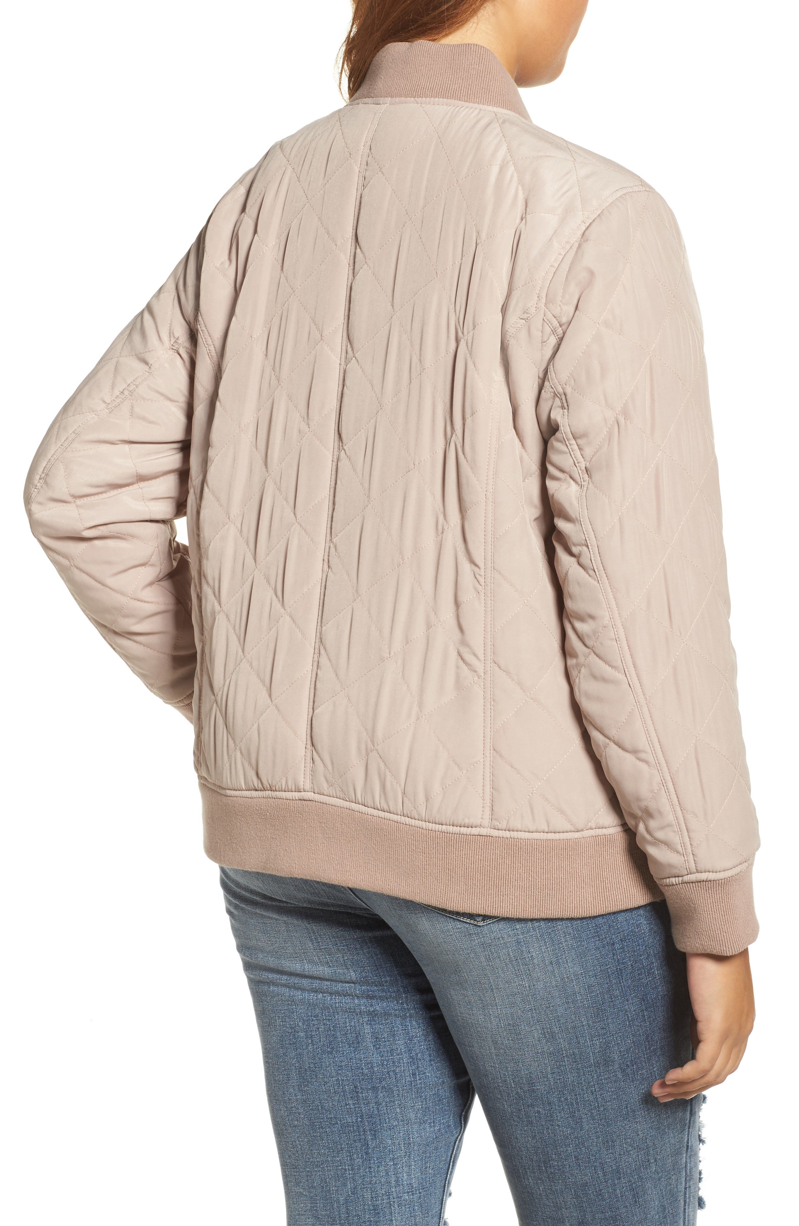 Alternate Image 2  - Lucky Brand Quilted Bomber Jacket (Plus Size)