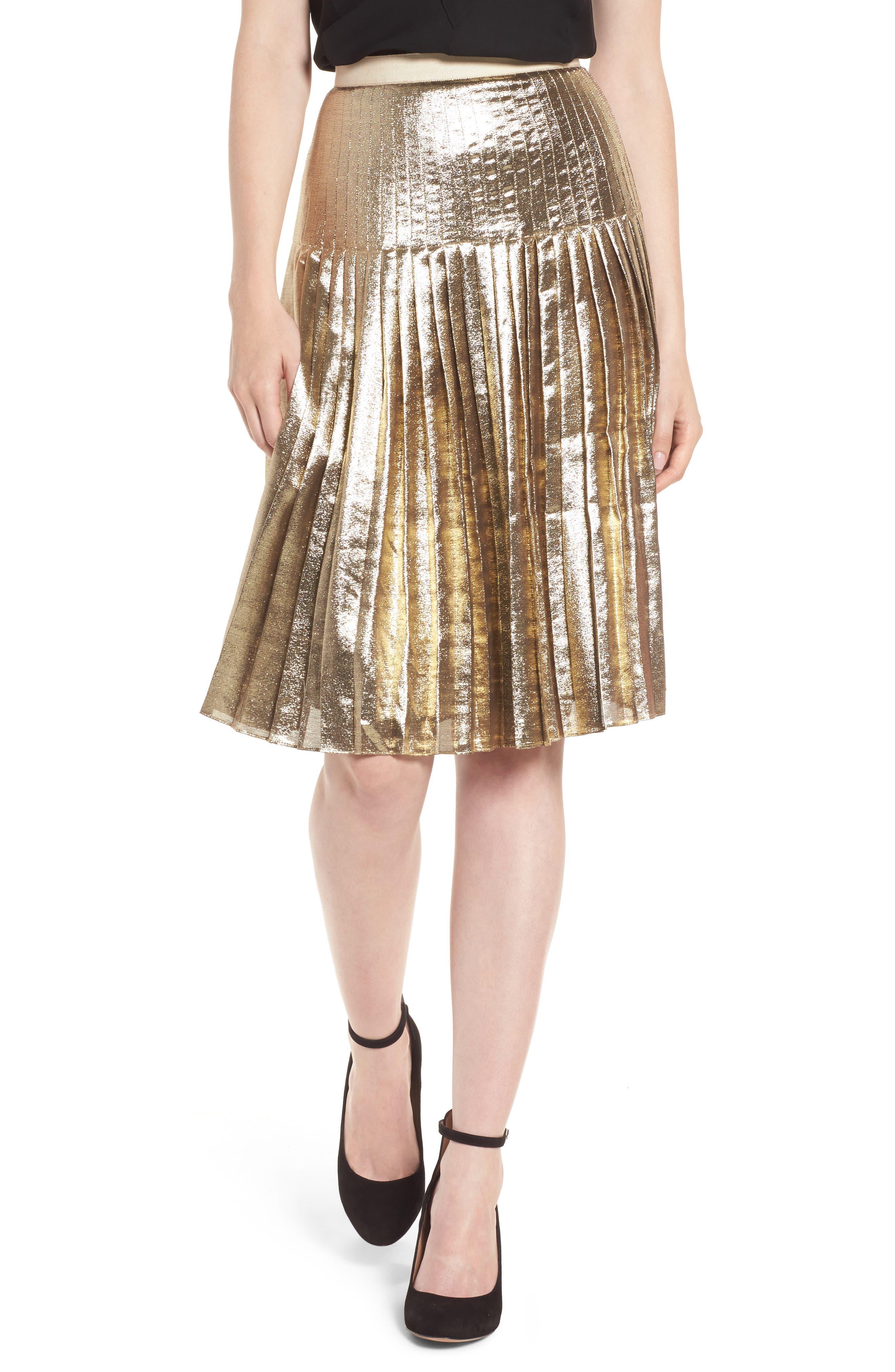Alternate Image 1 Selected - Lewit Pleated Metallic Skirt