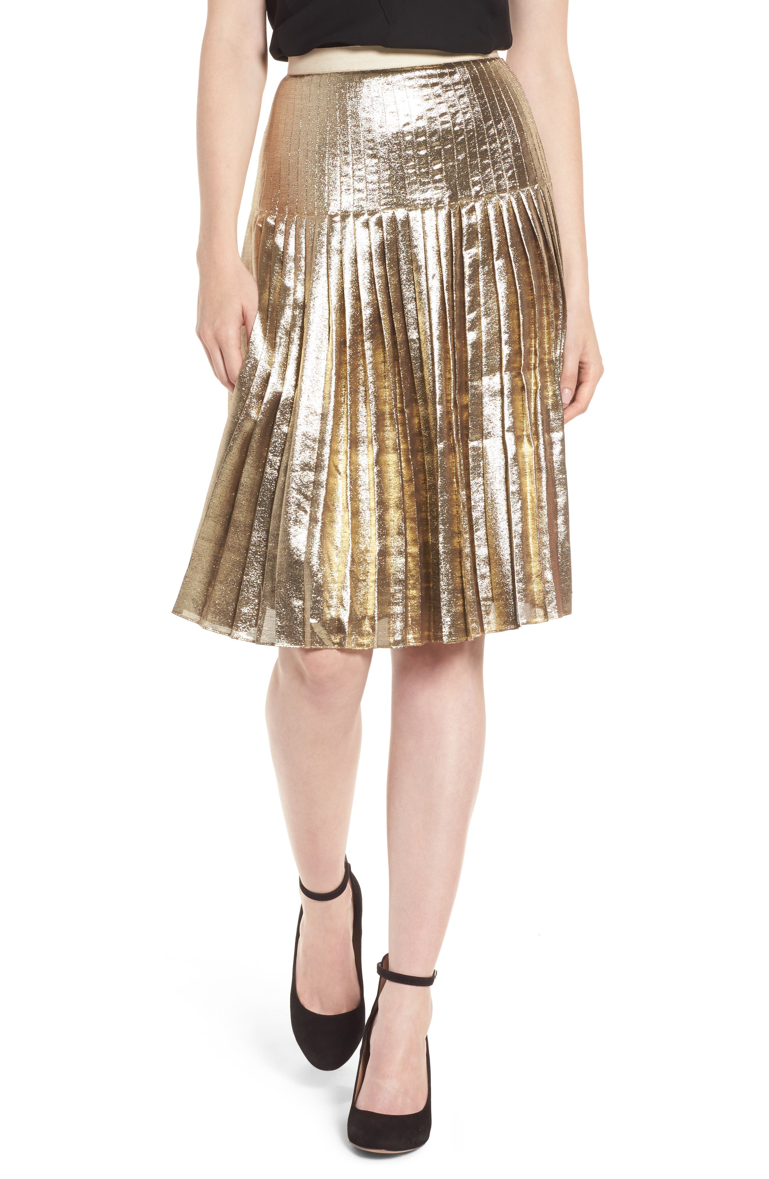 Pleated Metallic Skirt,                         Main,                         color, Gold