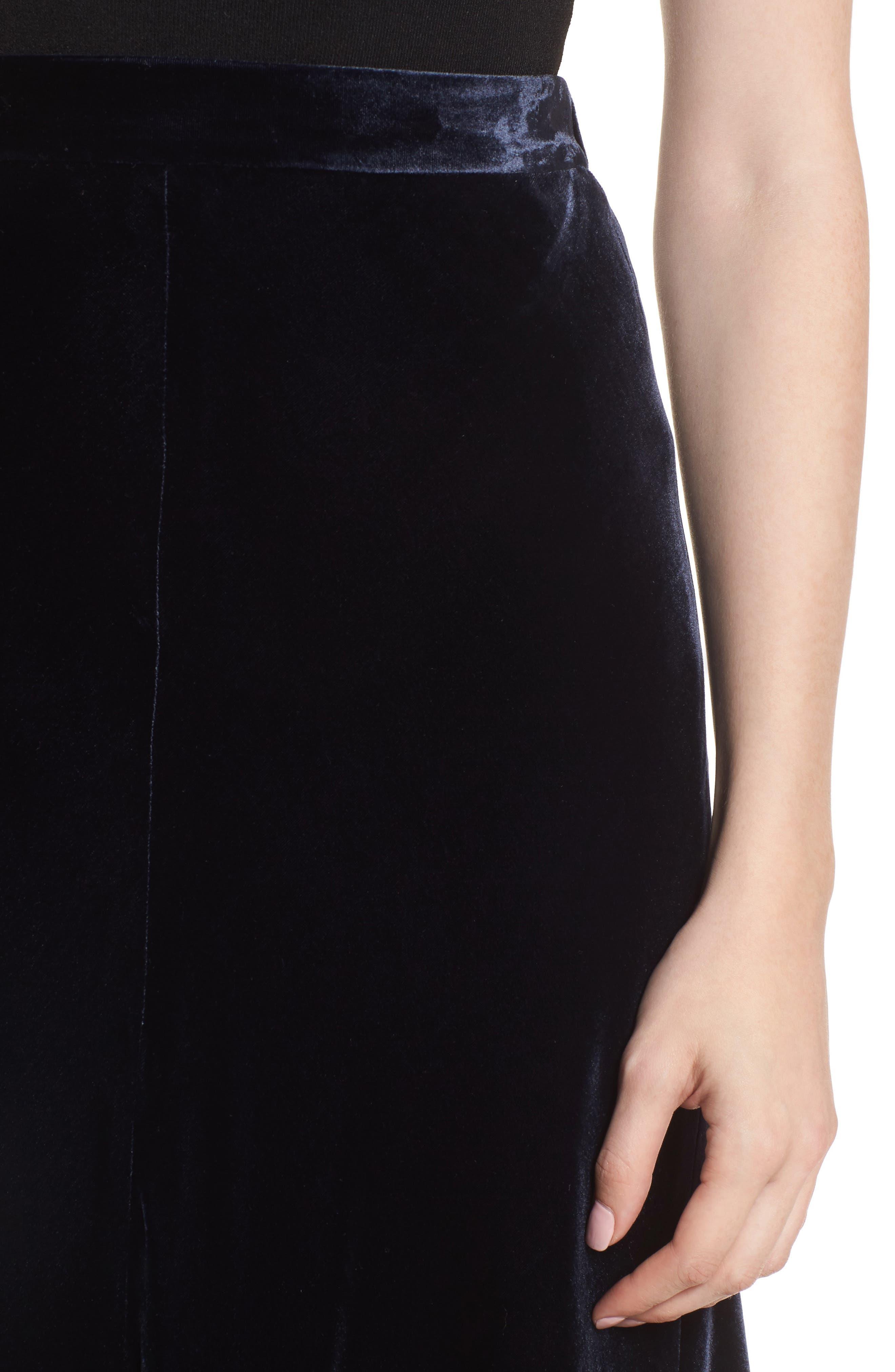 High/Low Velvet Skirt,                             Alternate thumbnail 6, color,                             Navy Night