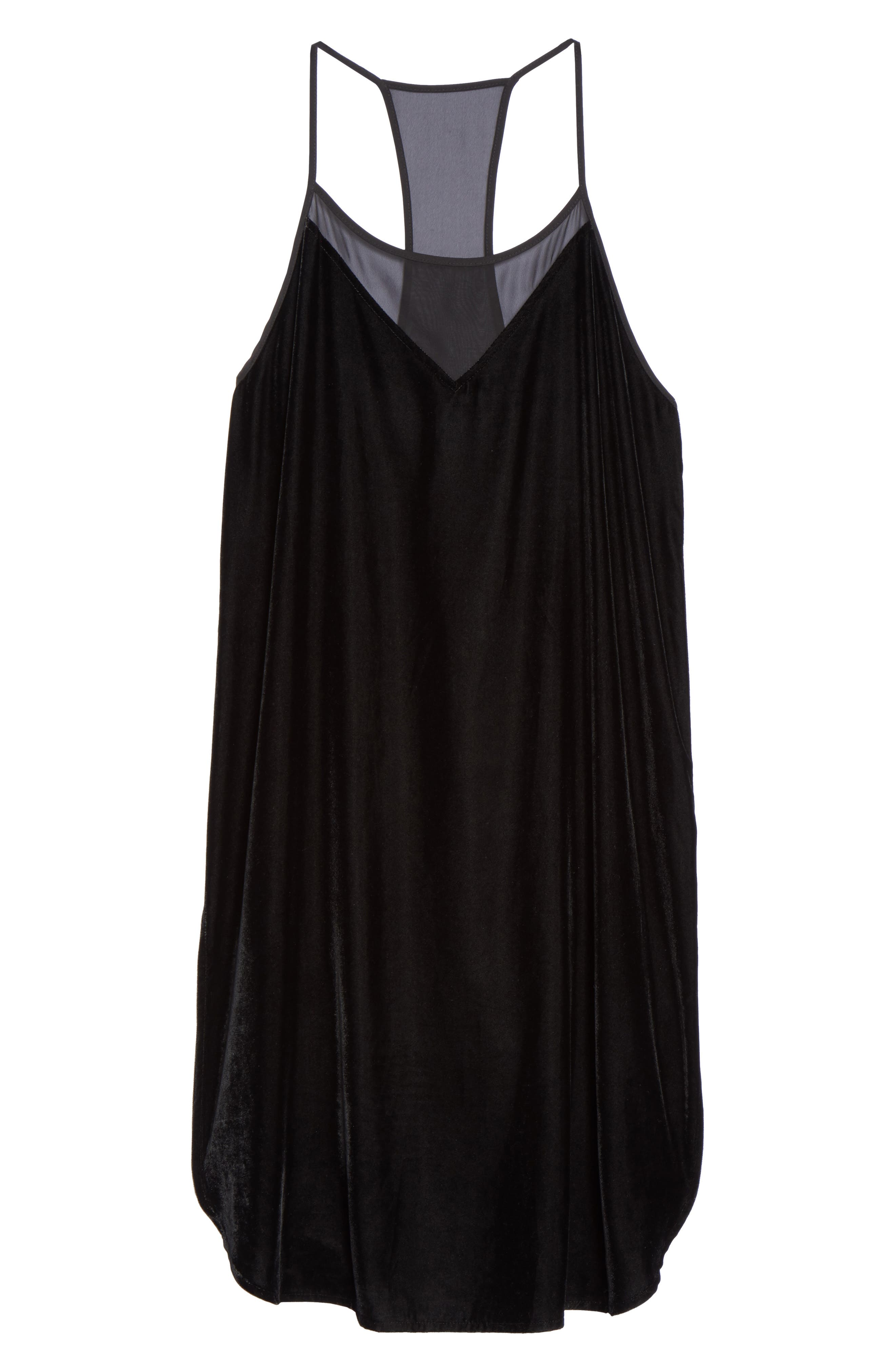Velvet Chemise,                             Alternate thumbnail 4, color,                             Black