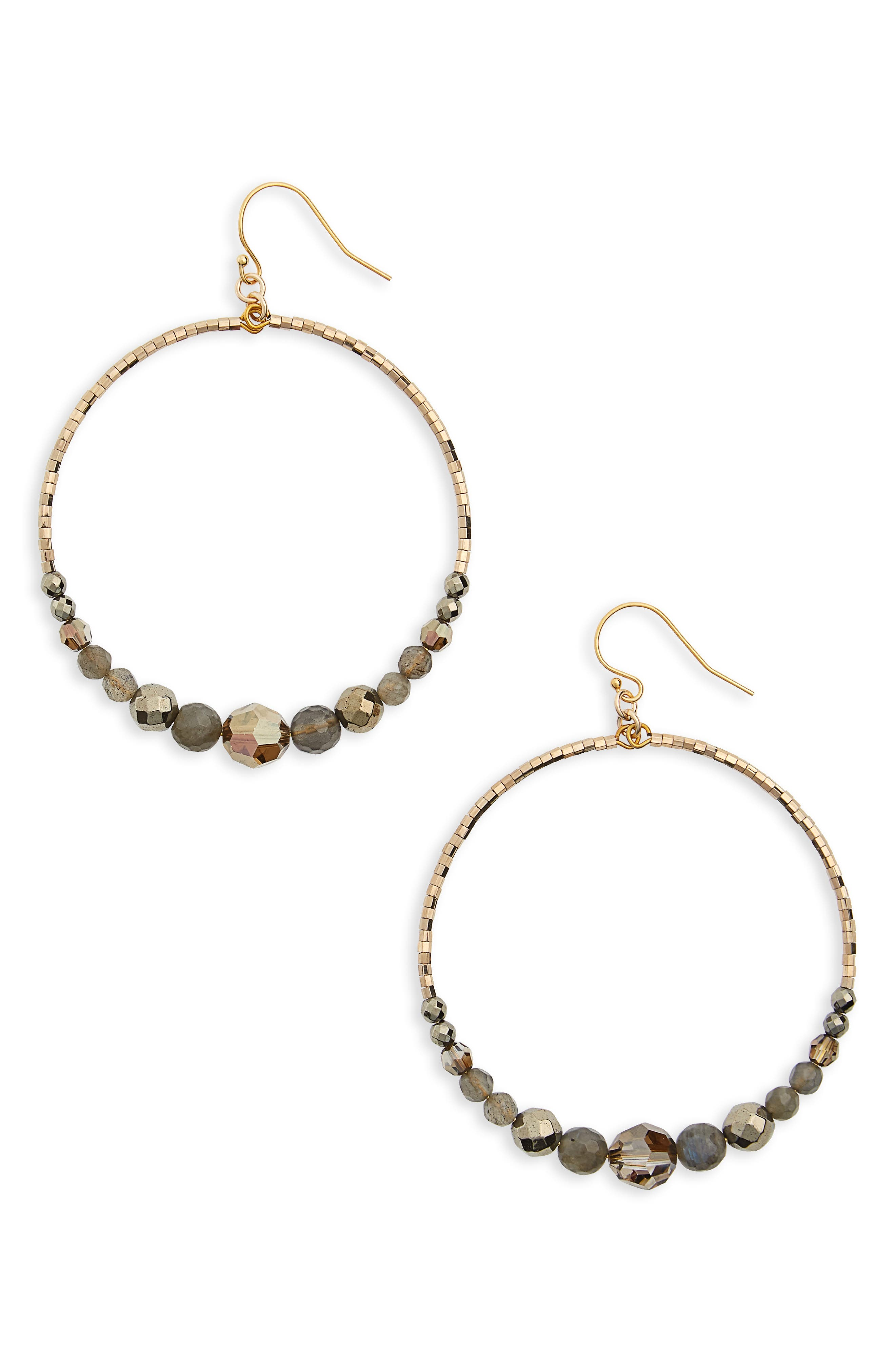 Labradorite Mix Hoop Earrings,                         Main,                         color, Lab/ Gold