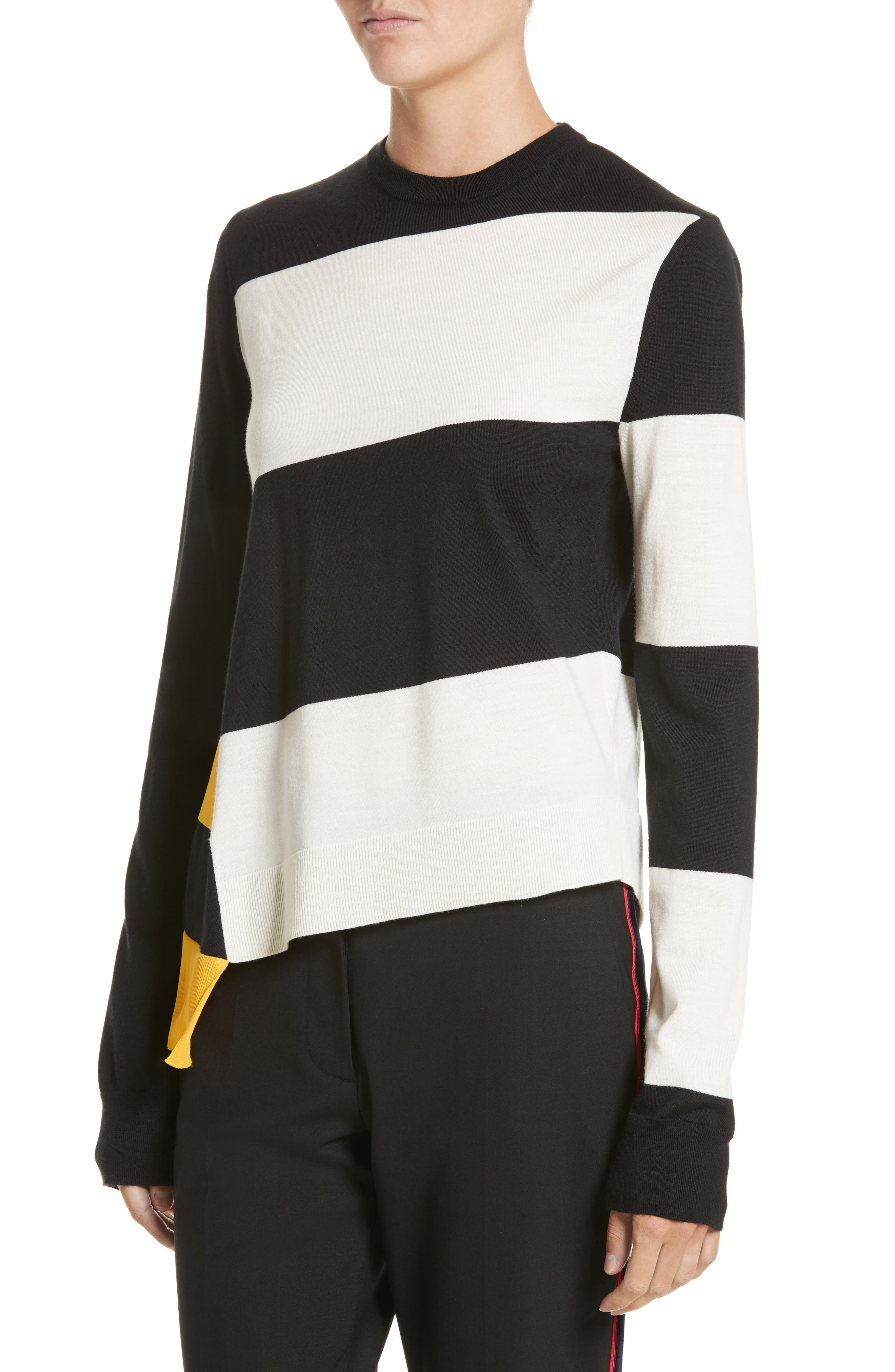 Bicolor Stripe Merino Wool Blend Sweater,                             Alternate thumbnail 3, color,                             Black/ Off White/ Yellow