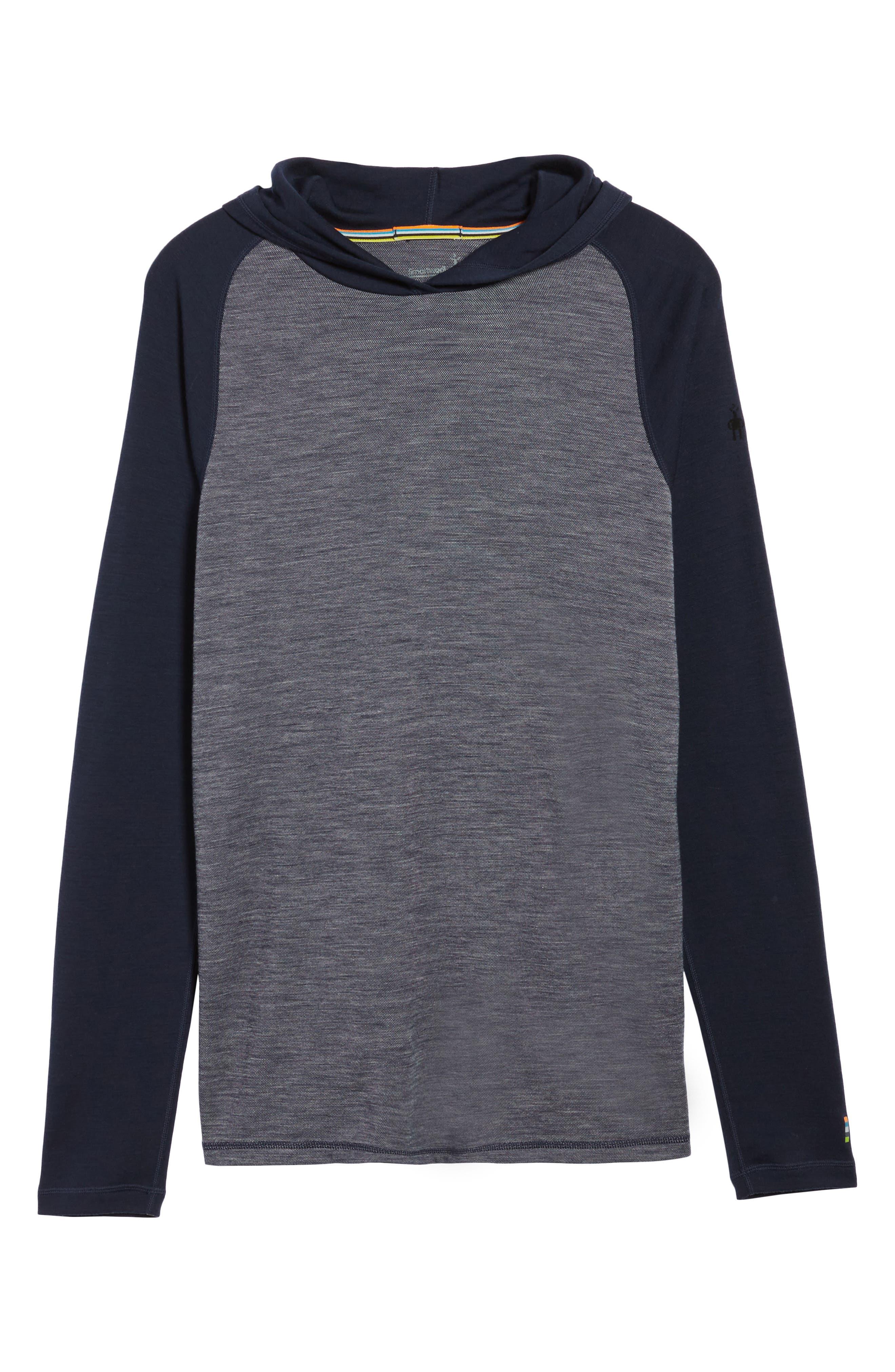 Merino 250 Base Layer Pattern Crewneck T-Shirt,                             Alternate thumbnail 6, color,                             Deep Navy