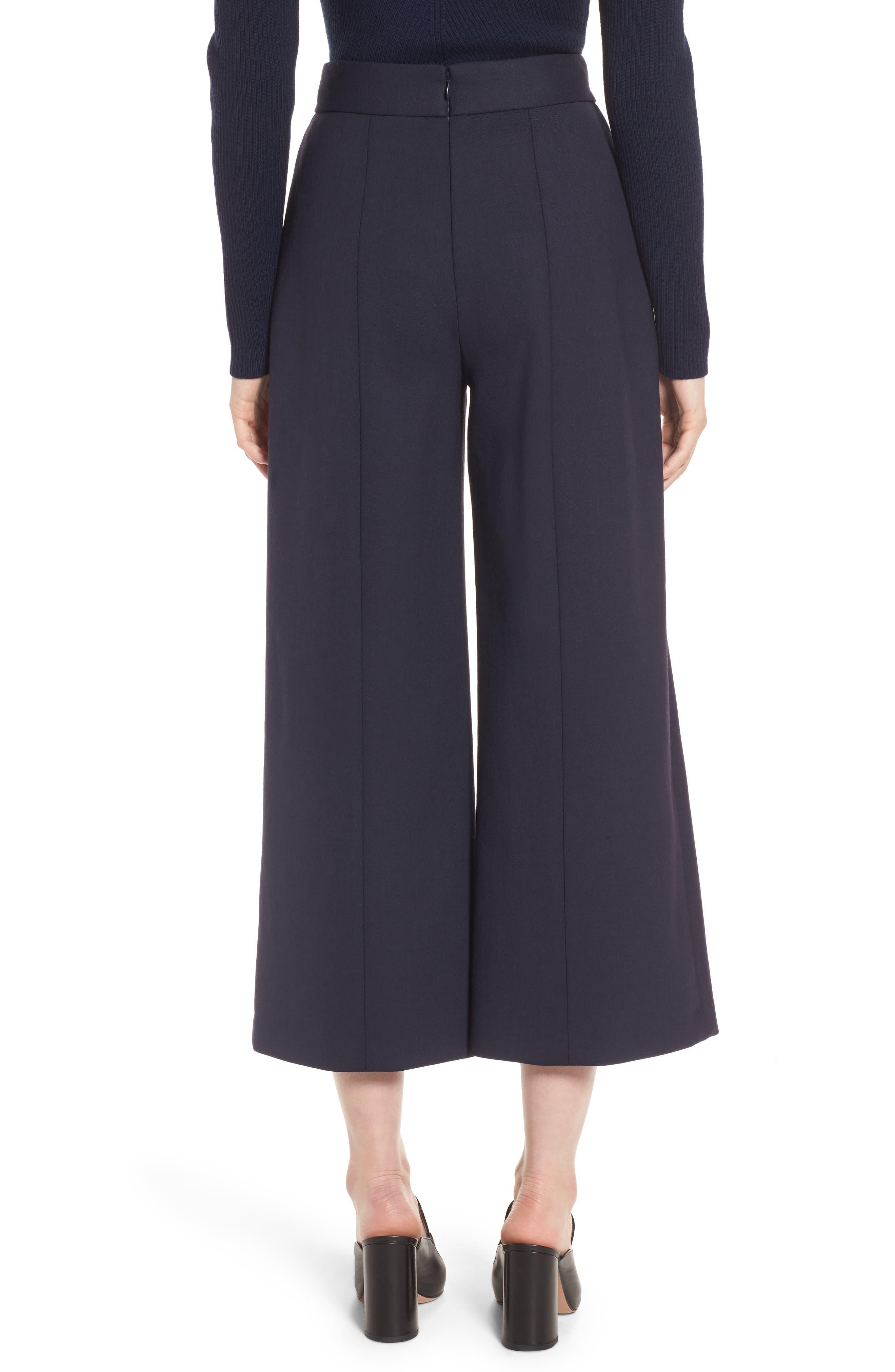 Button Detail Wide Leg Trouser,                             Alternate thumbnail 2, color,                             Navy Night