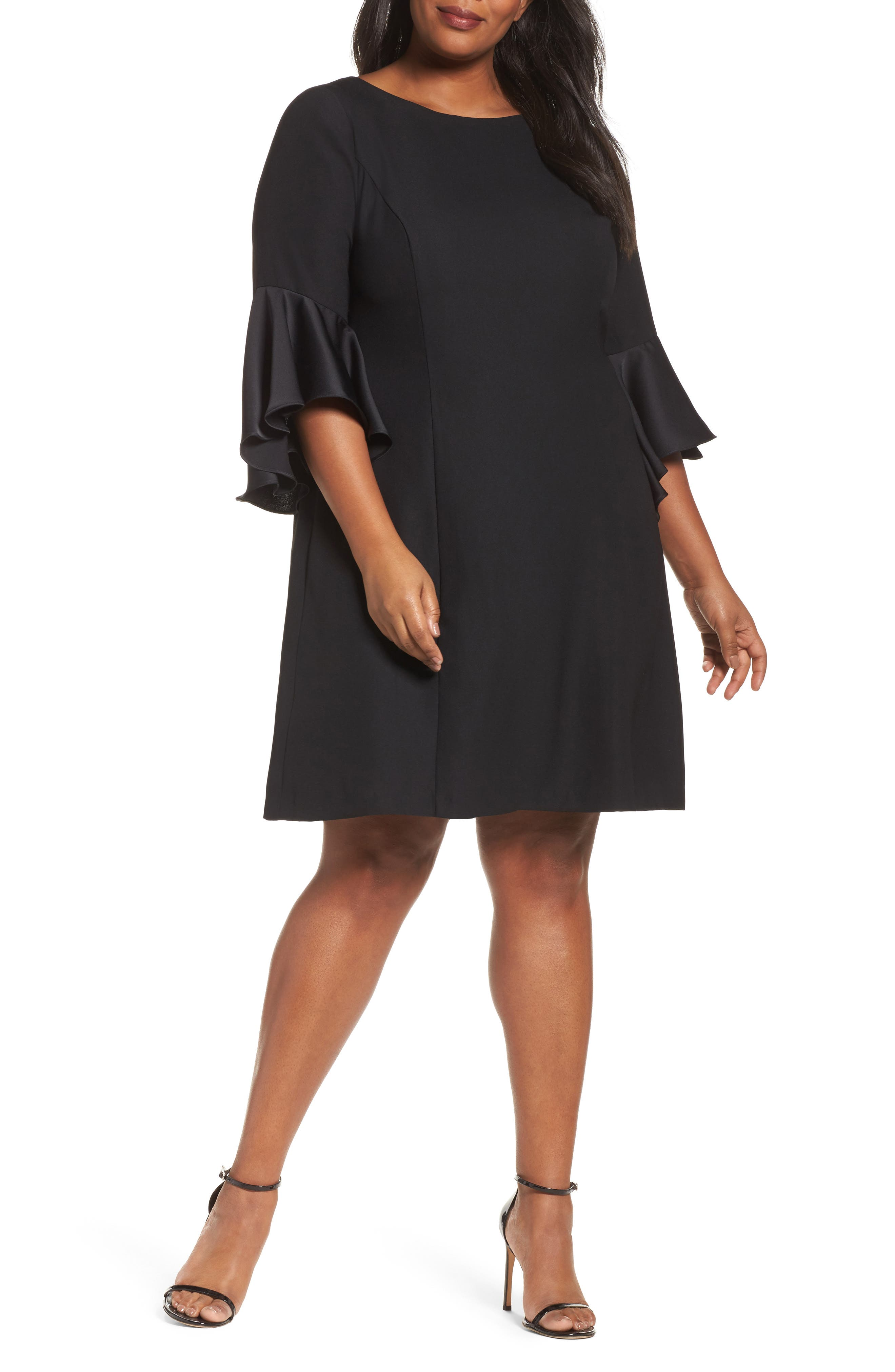 Bell Sleeve A-Line Dress,                             Main thumbnail 1, color,                             Black