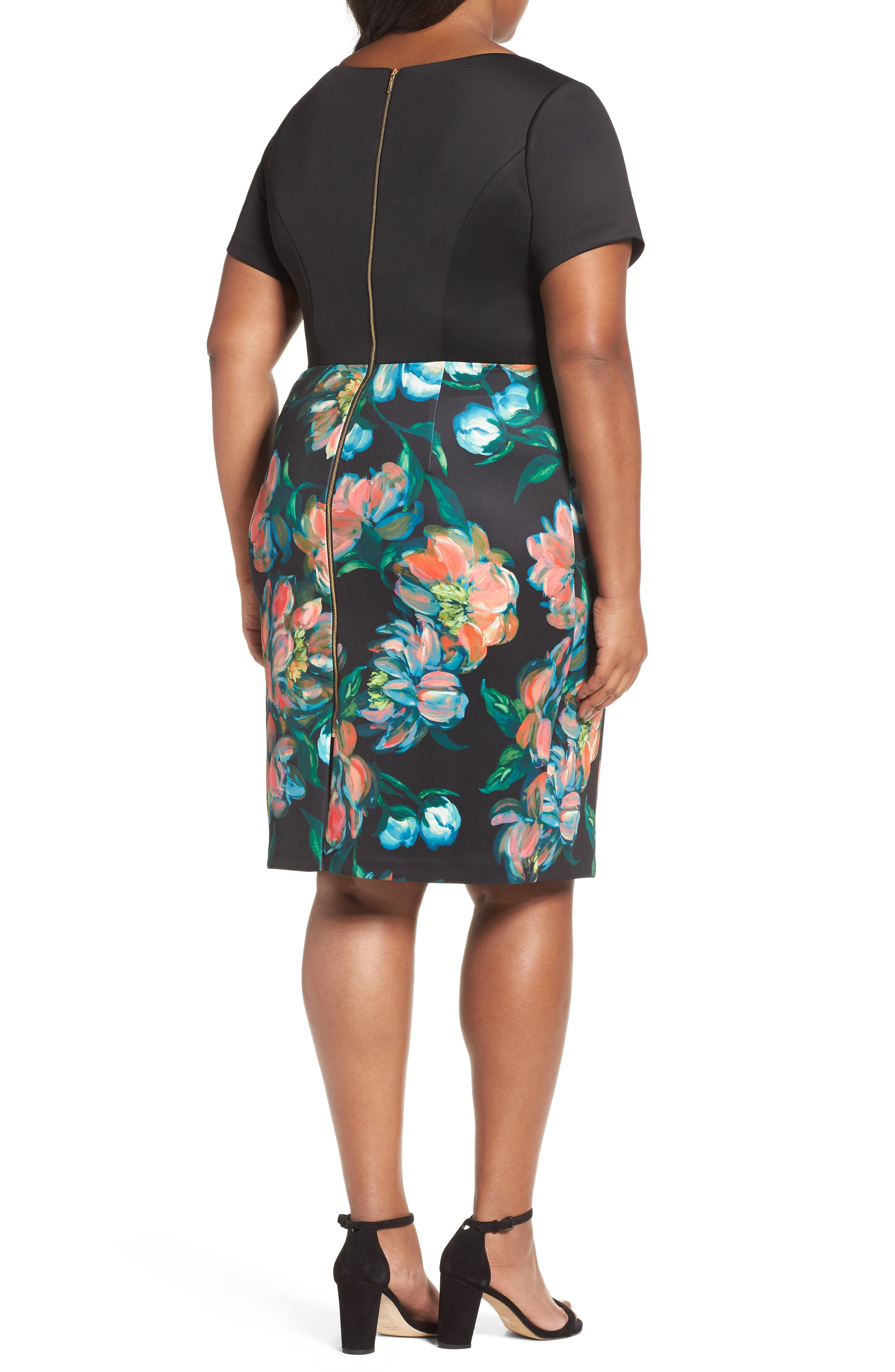 Alternate Image 2  - Adrianna Papell Floral Print Sheath Dress (Plus Size)