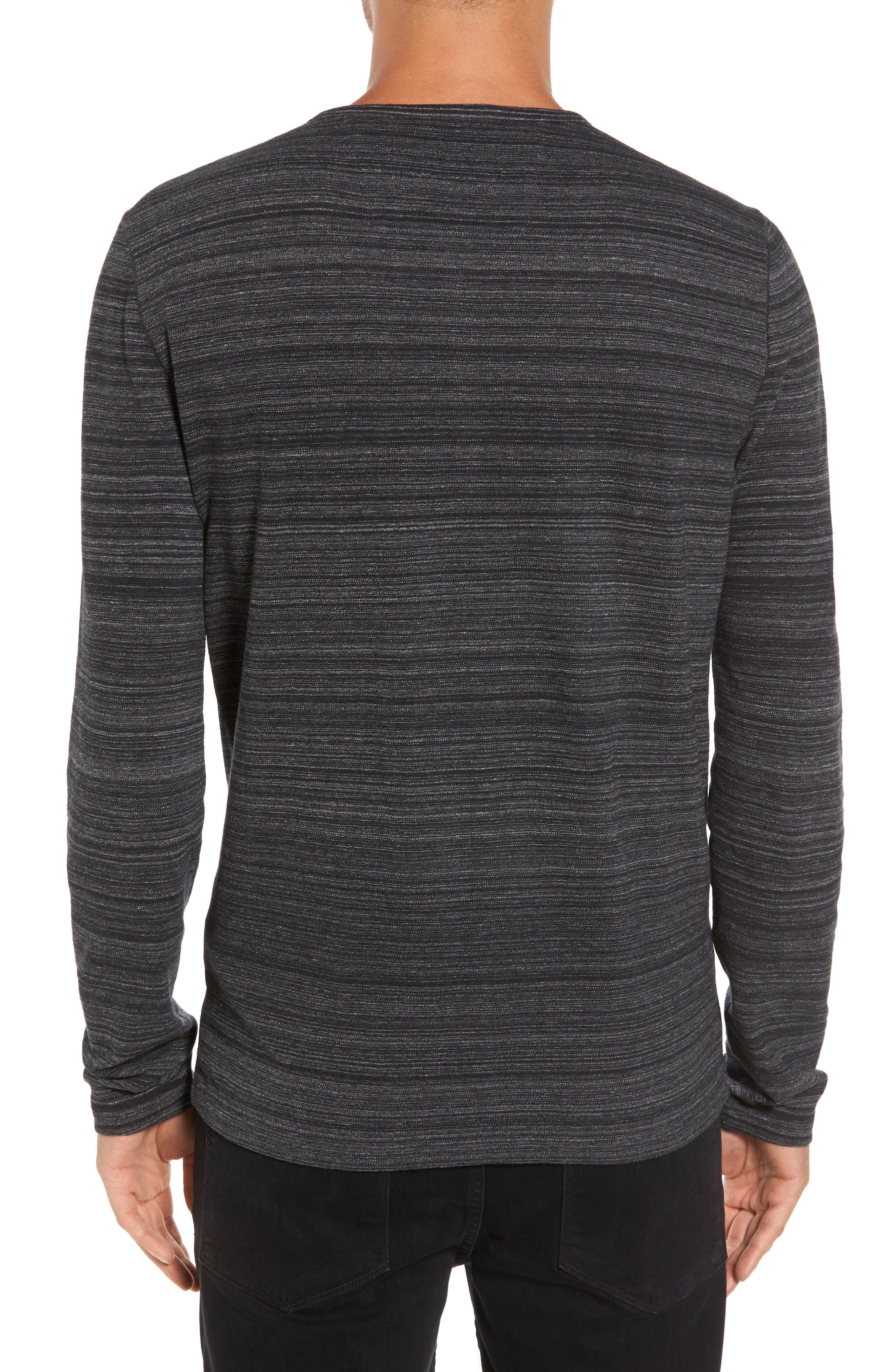 Vertical Pickstitch Henley,                             Alternate thumbnail 2, color,                             Black