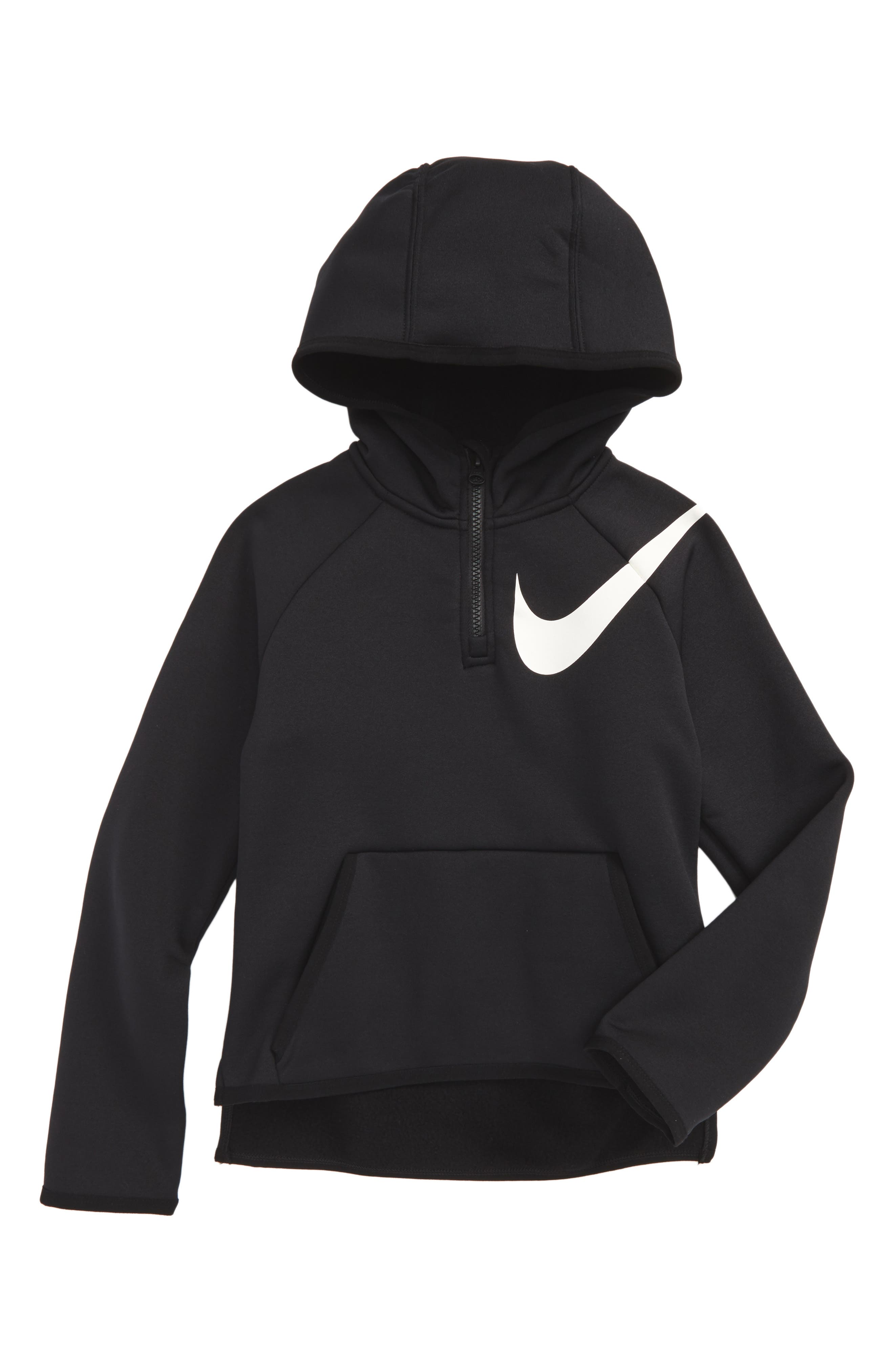 Therma-FIT Half Zip Hoodie,                             Main thumbnail 1, color,                             Black/ White
