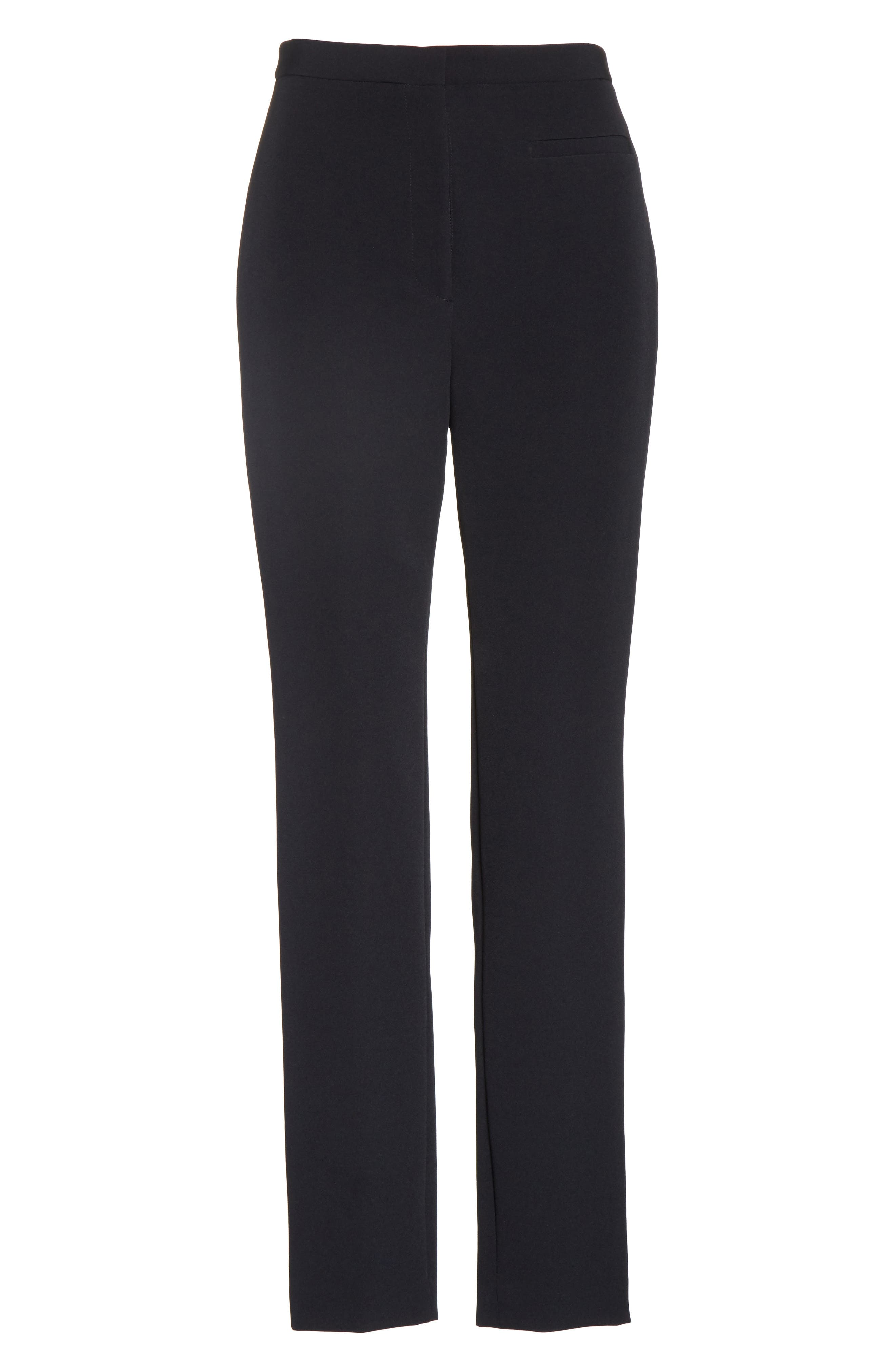 Stretch Crepe High Waist Skinny Pants,                             Alternate thumbnail 6, color,                             Black