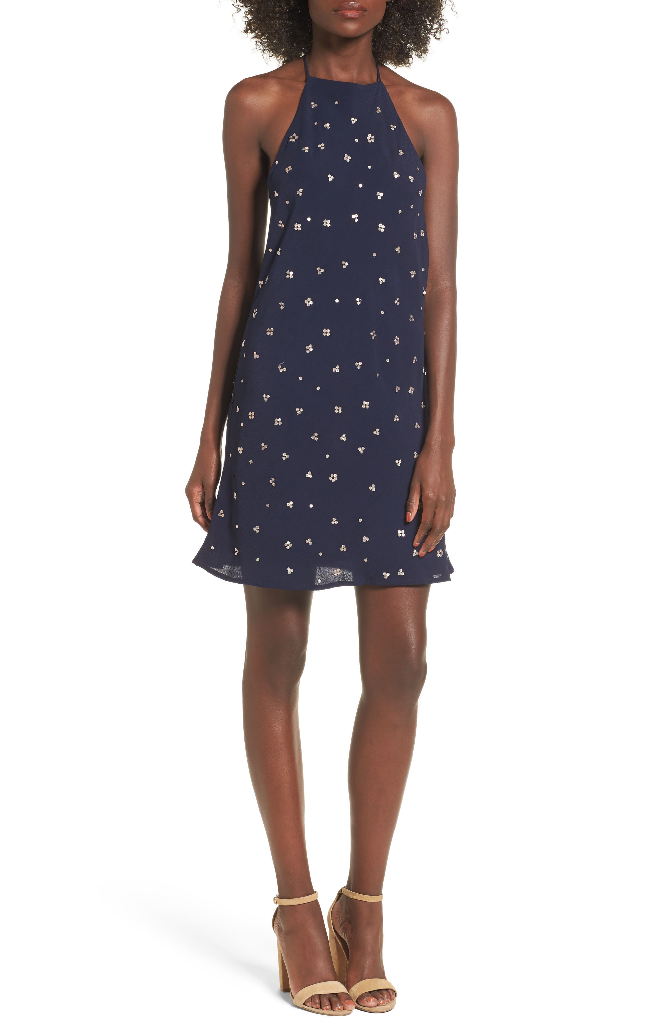 Flora Halter Dress,                         Main,                         color, Navy