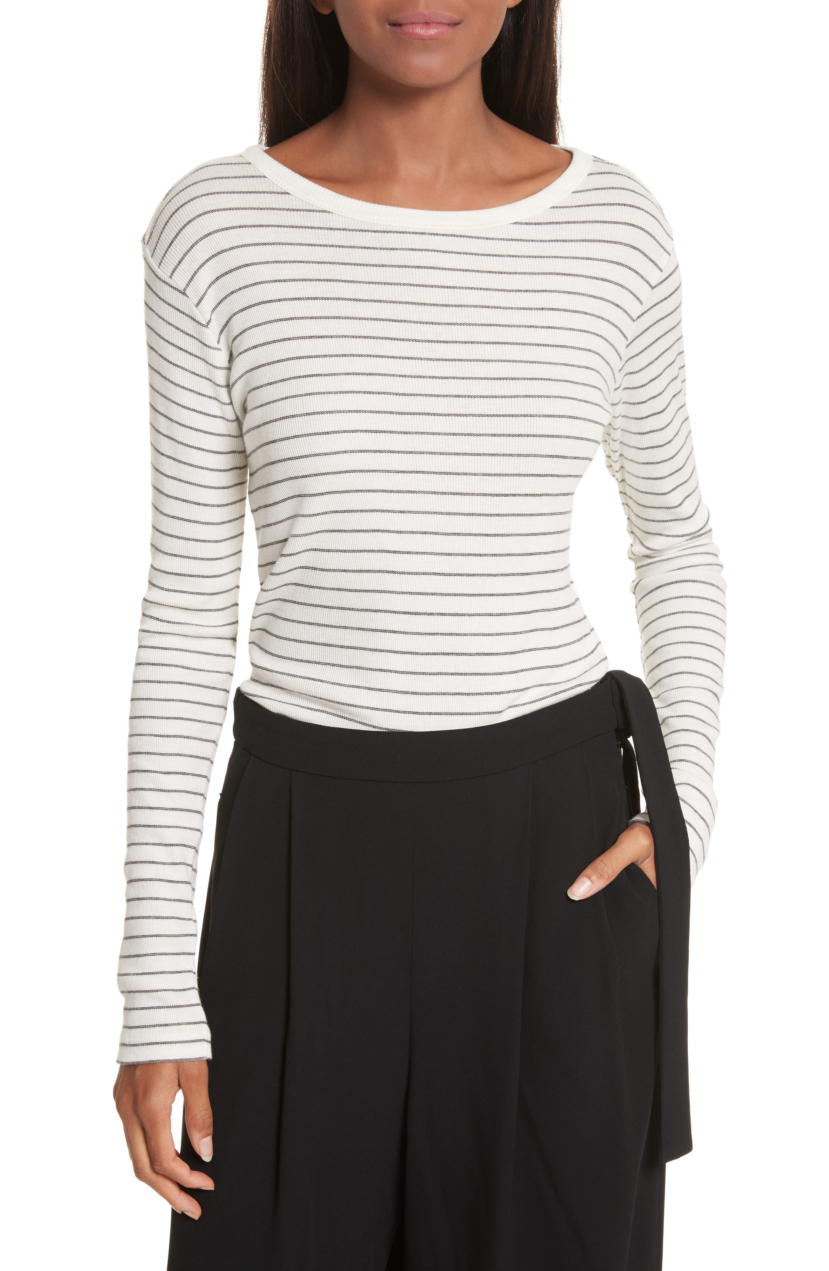 Double Pinstripe Shirttail Tee,                         Main,                         color, Vanilla/ Black