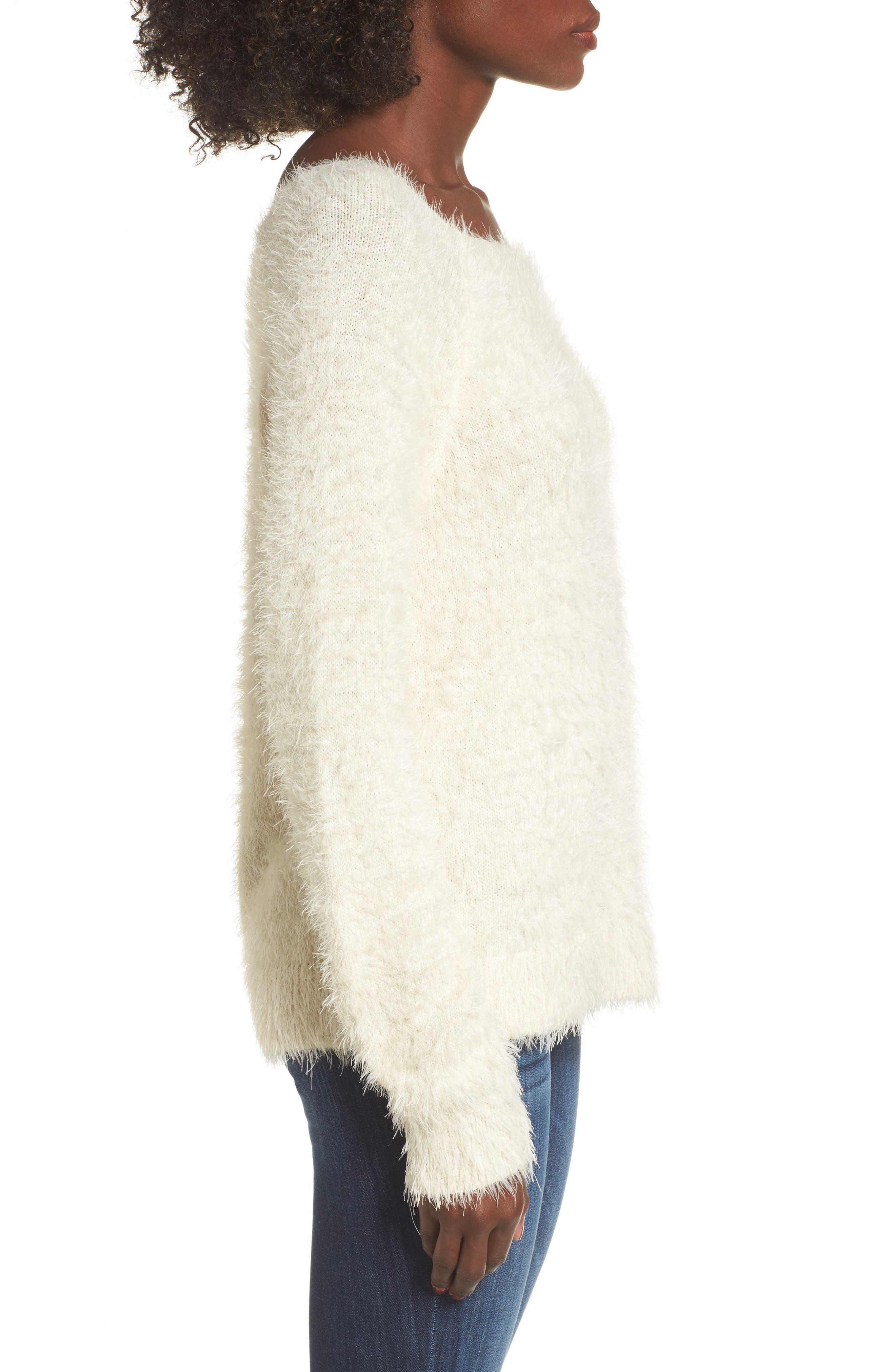 Eyelash Sweater,                             Alternate thumbnail 3, color,                             Ivory