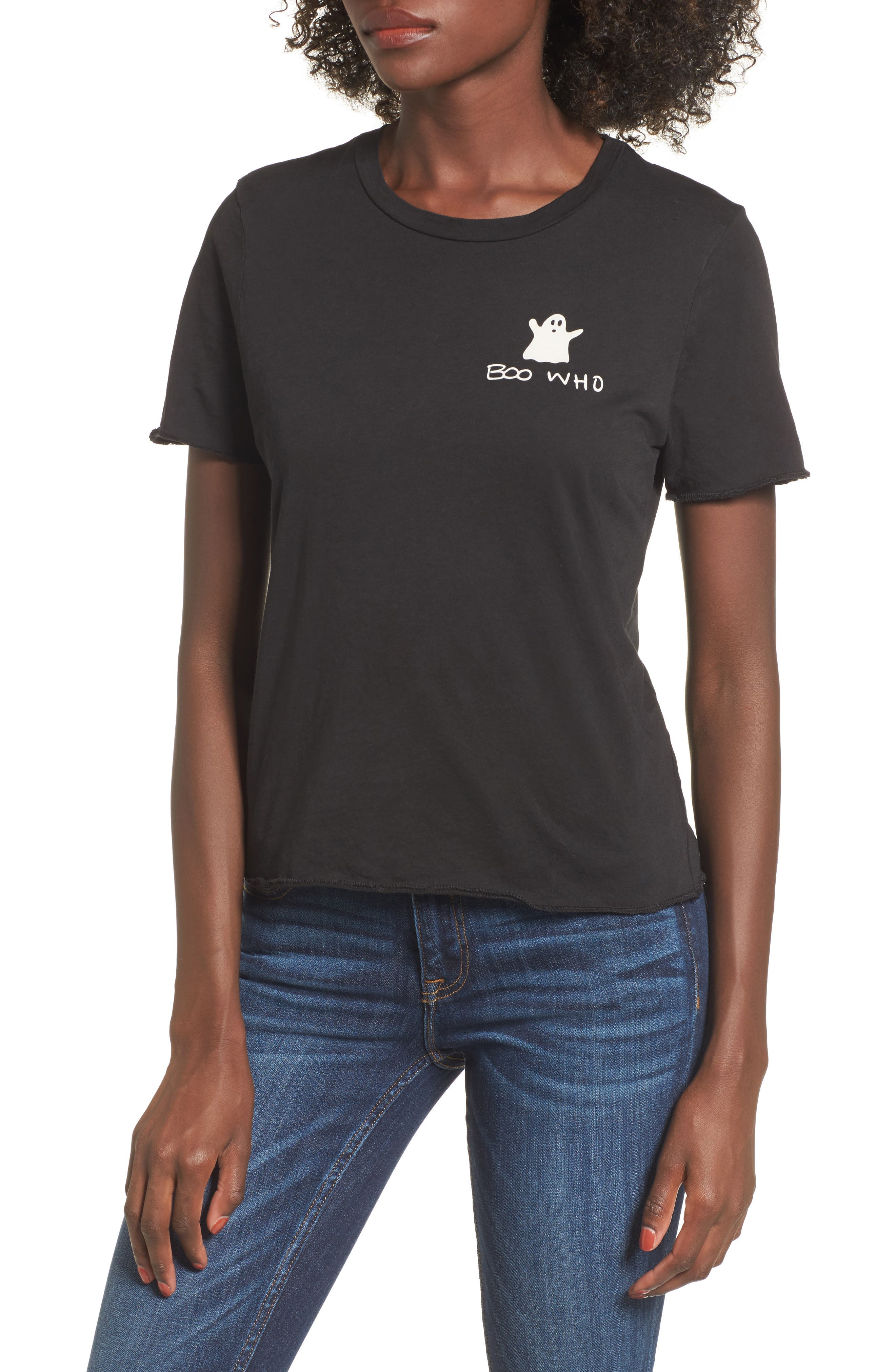 Boo Who Graphic Tee,                         Main,                         color, Black