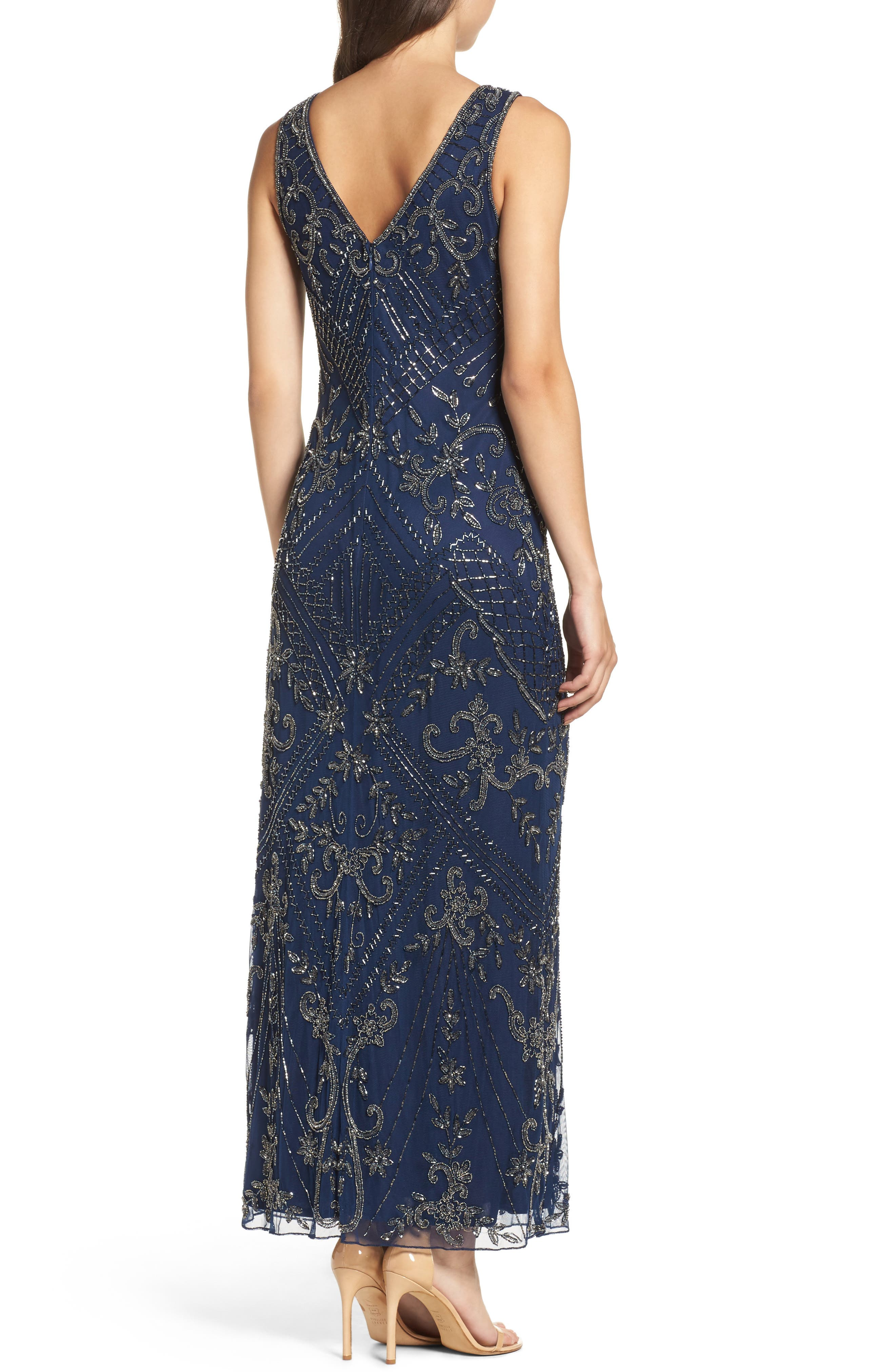Embroidered Mesh Gown,                             Alternate thumbnail 2, color,                             Navy/ Mercury