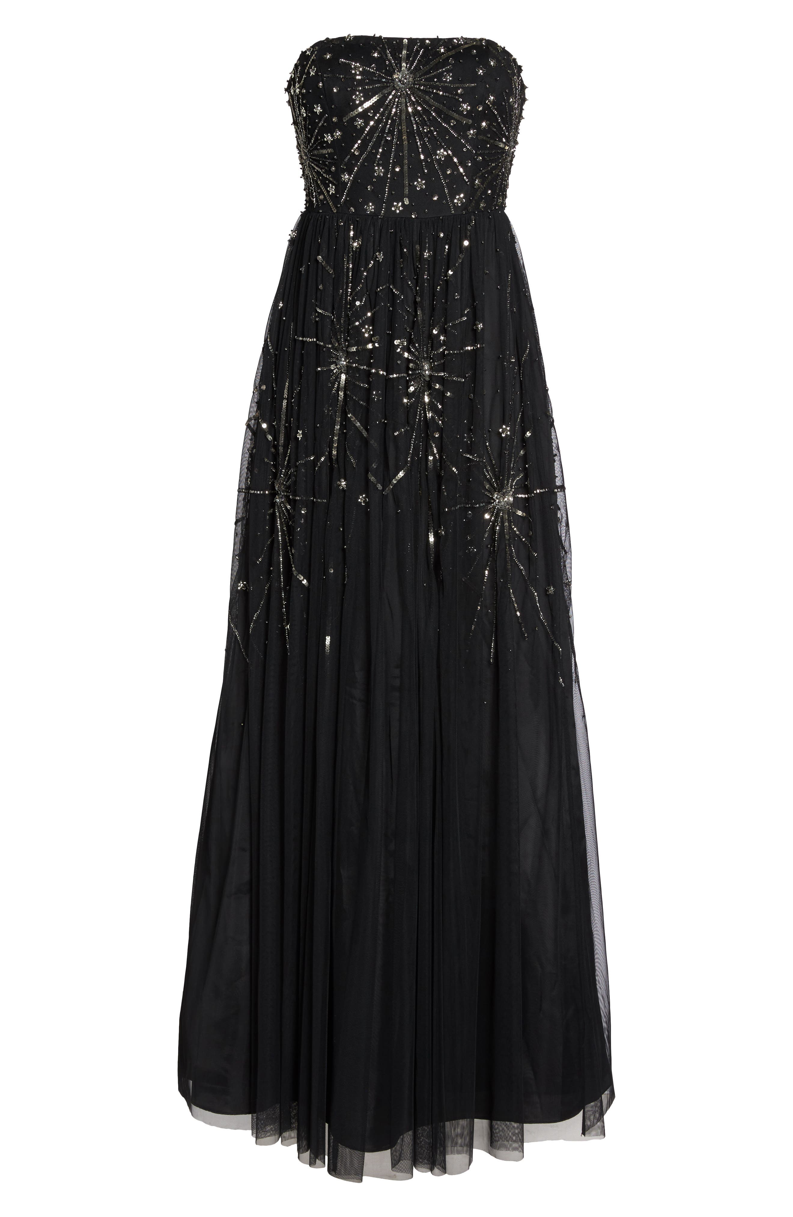 Embellished Strapless Mesh Gown,                             Alternate thumbnail 6, color,                             Black