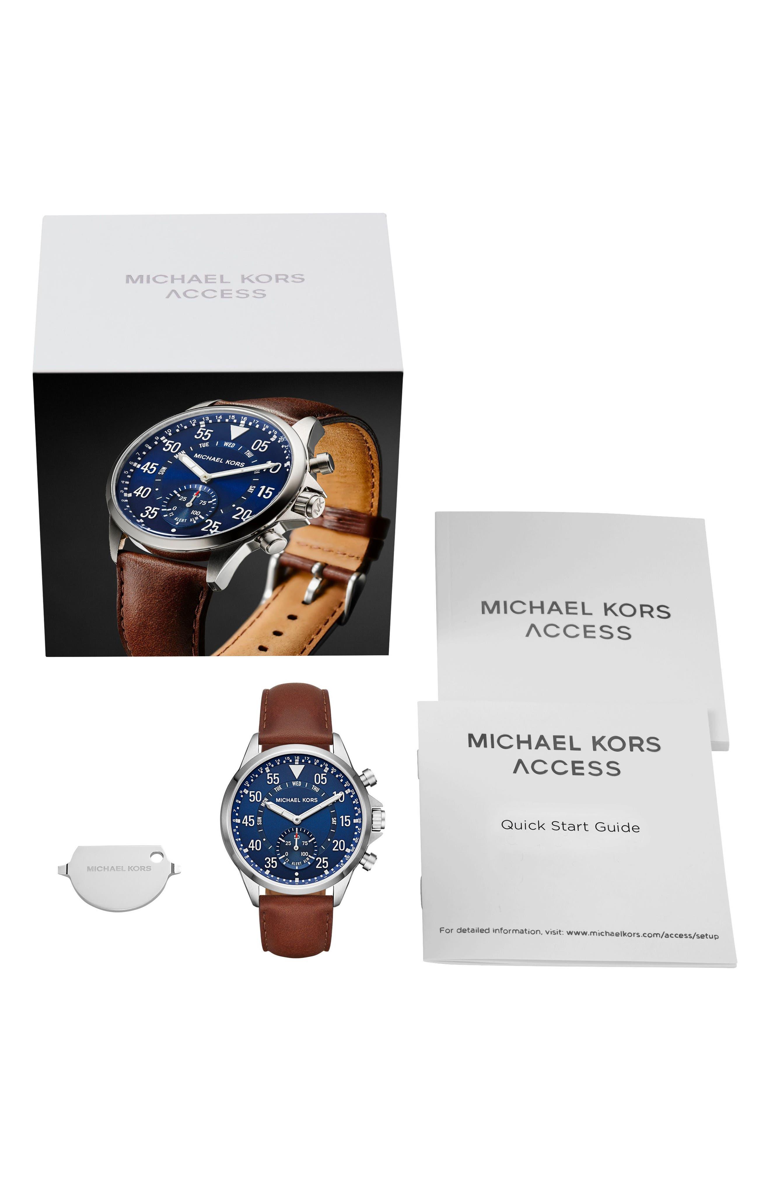 Alternate Image 5  - Michael Kors Gage Leather Strap Smart Watch, 45mm