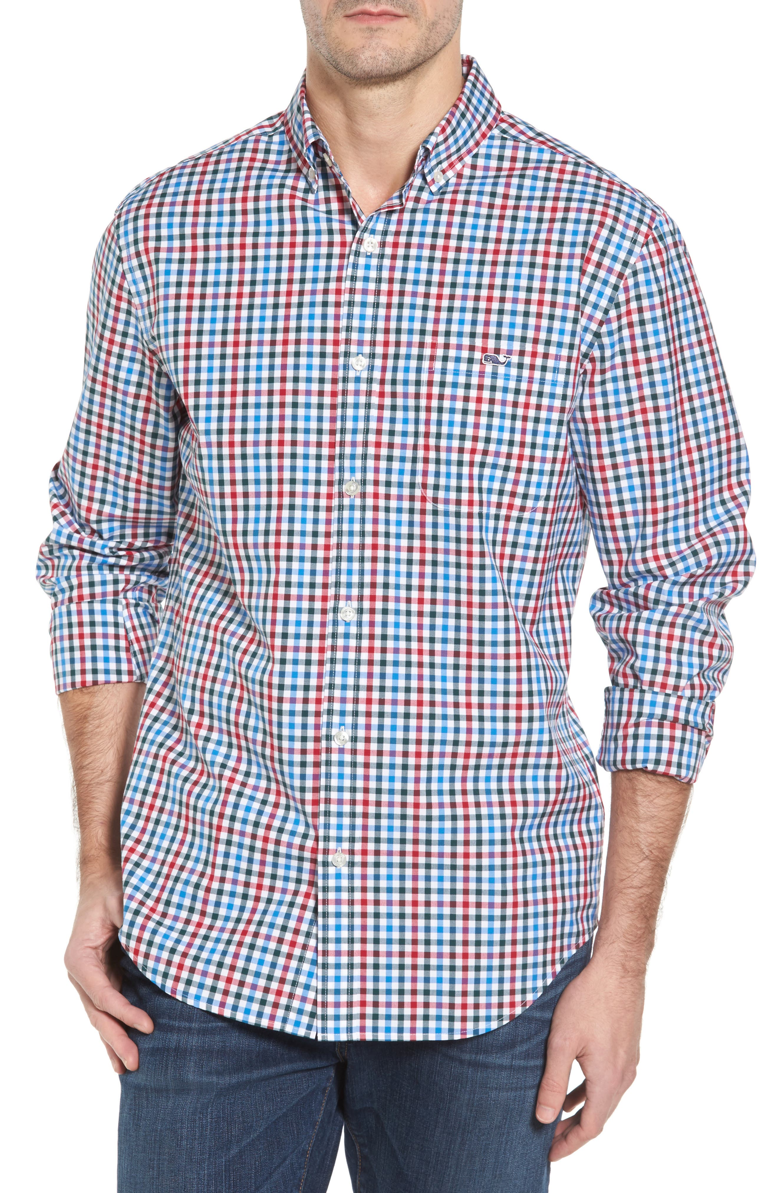 Higgins Beach Classic Fit Gingham Sport Shirt,                         Main,                         color, Pomegranate