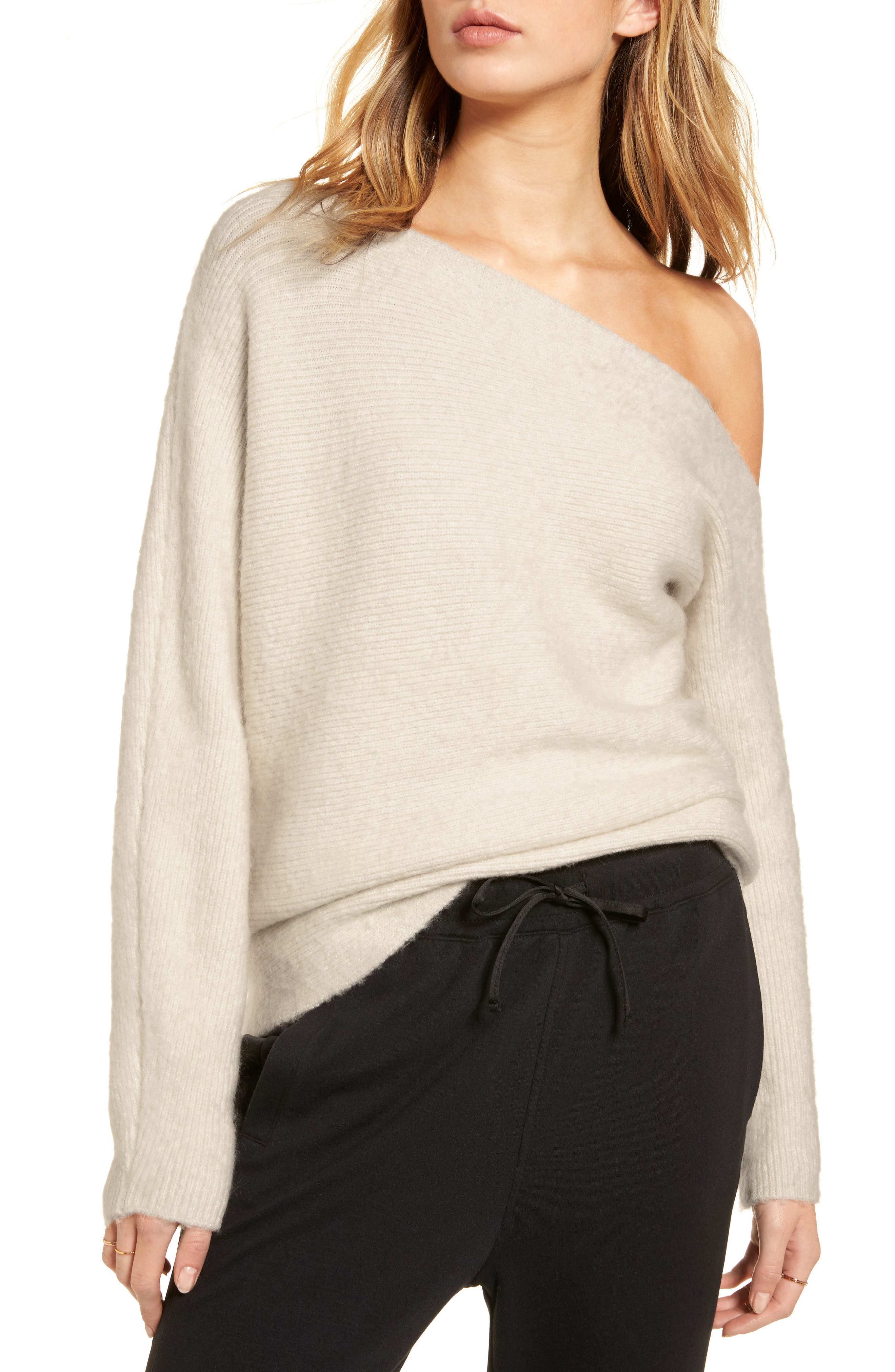 One-Shoulder Ribbed Sweater,                             Main thumbnail 1, color,                             Beige Oatmeal Light Heather
