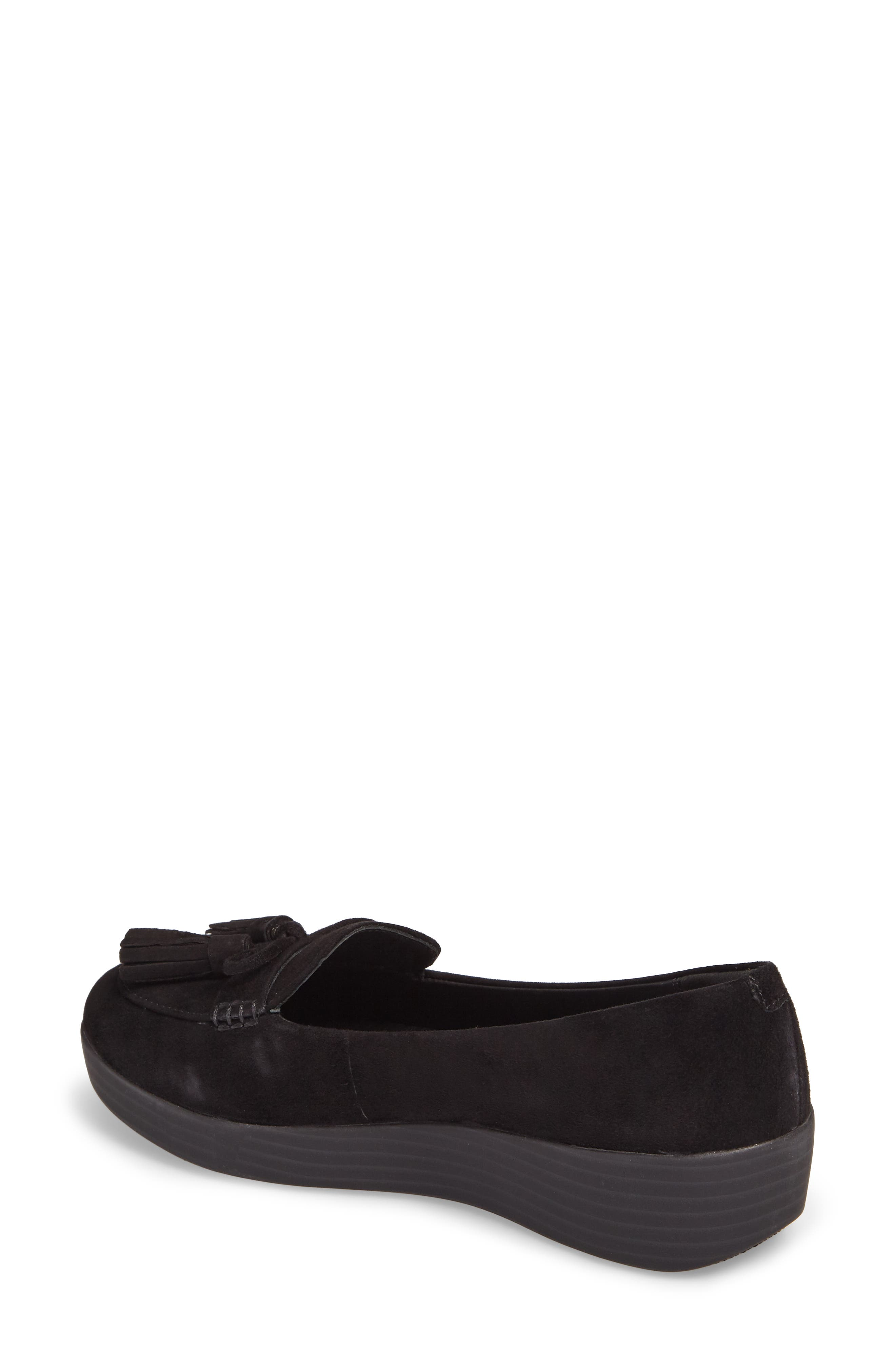 Tassel Bow Sneakerloafer<sup>™</sup> Water Repellent Flat,                             Alternate thumbnail 2, color,                             All Black