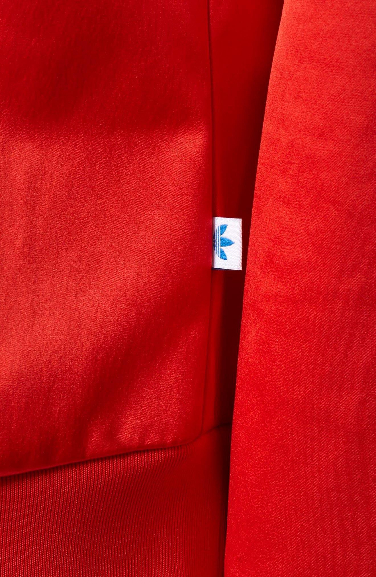 Trefoil Crewneck Sweater,                             Alternate thumbnail 6, color,                             Vivid Red S13