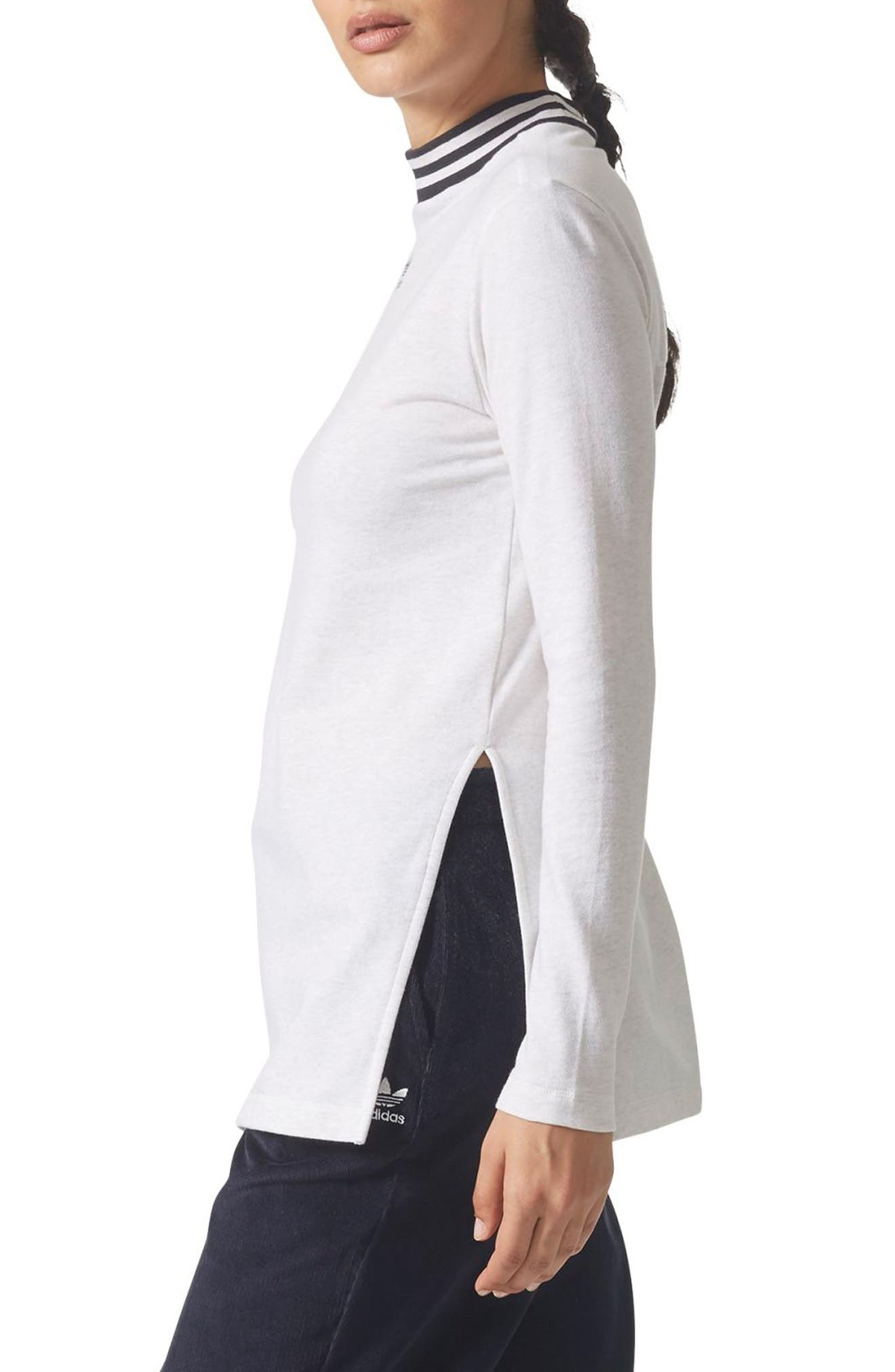 Alternate Image 3  - adidas Stripe Mock Neck Tee