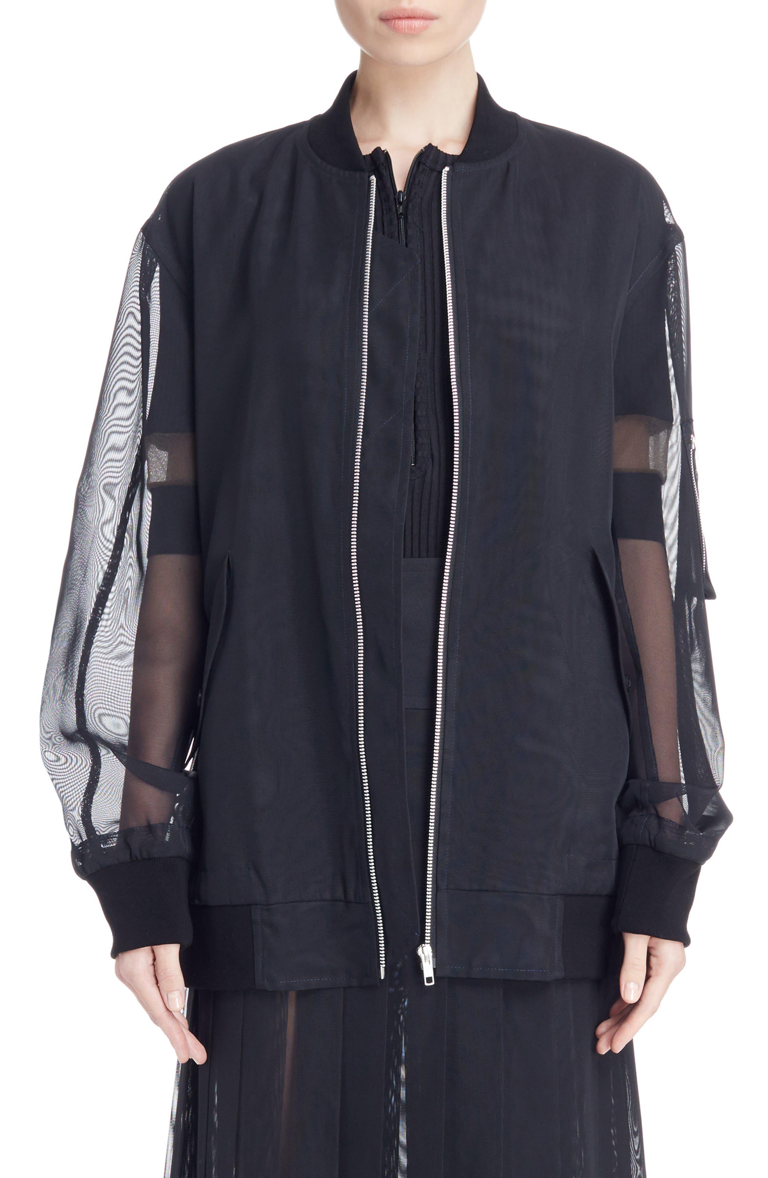 Mesh Bomber Jacket,                         Main,                         color, Black