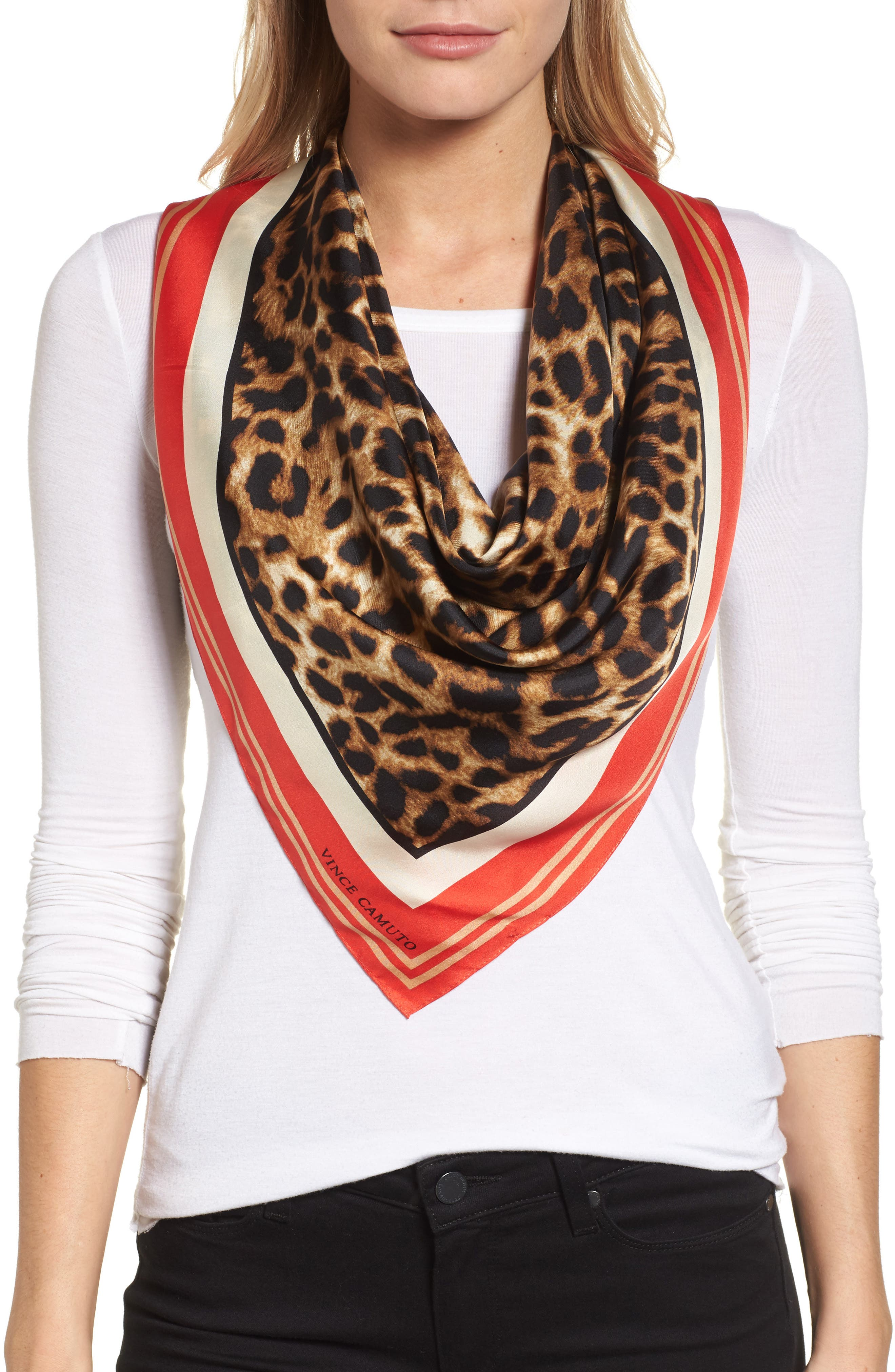 Vince Camuto Racing Leopard Silk Square Scarf
