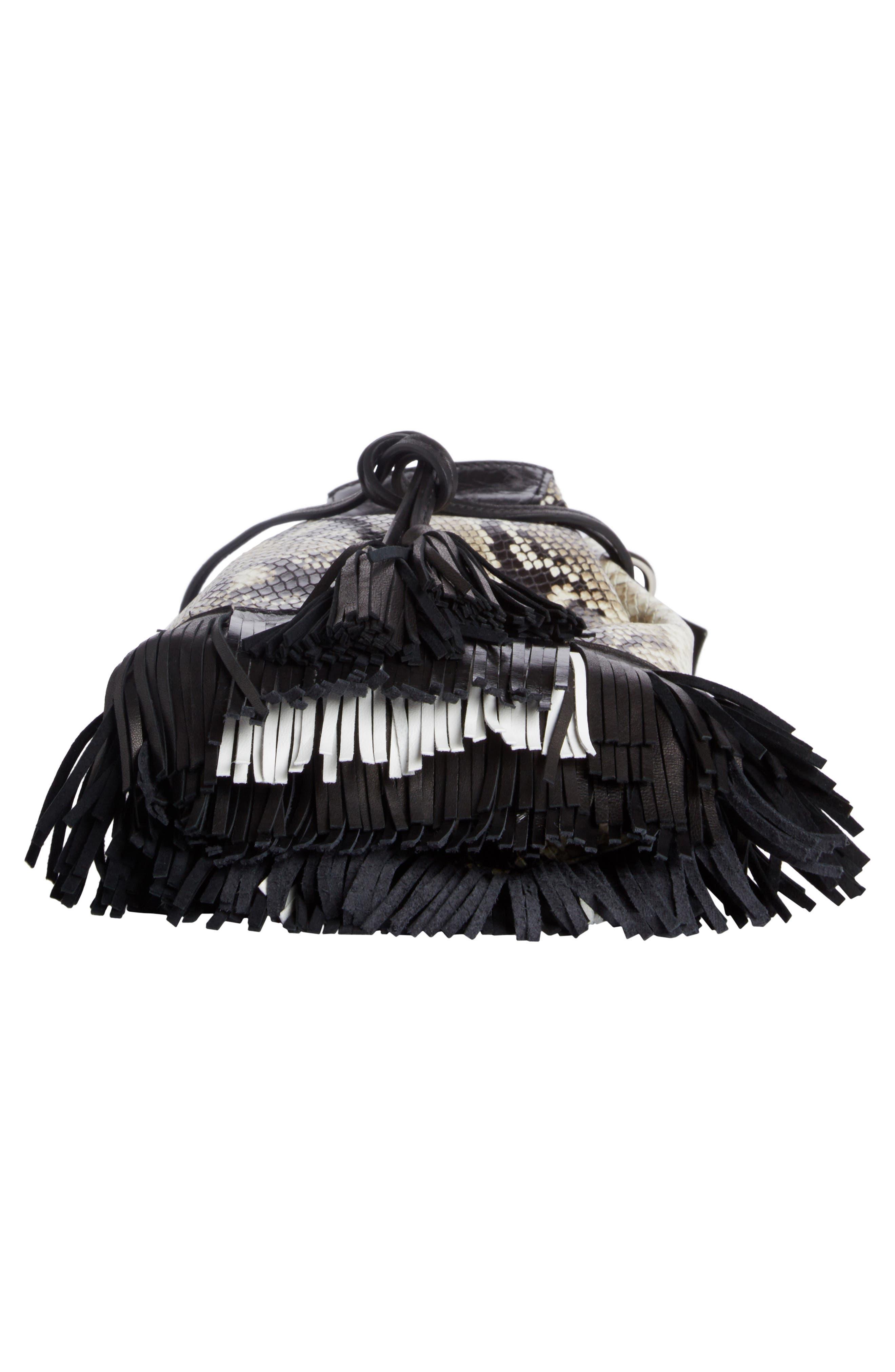 Askiah Fringed Snake Embossed Leather Crossbody Bag,                             Alternate thumbnail 4, color,                             Beige/ Dore
