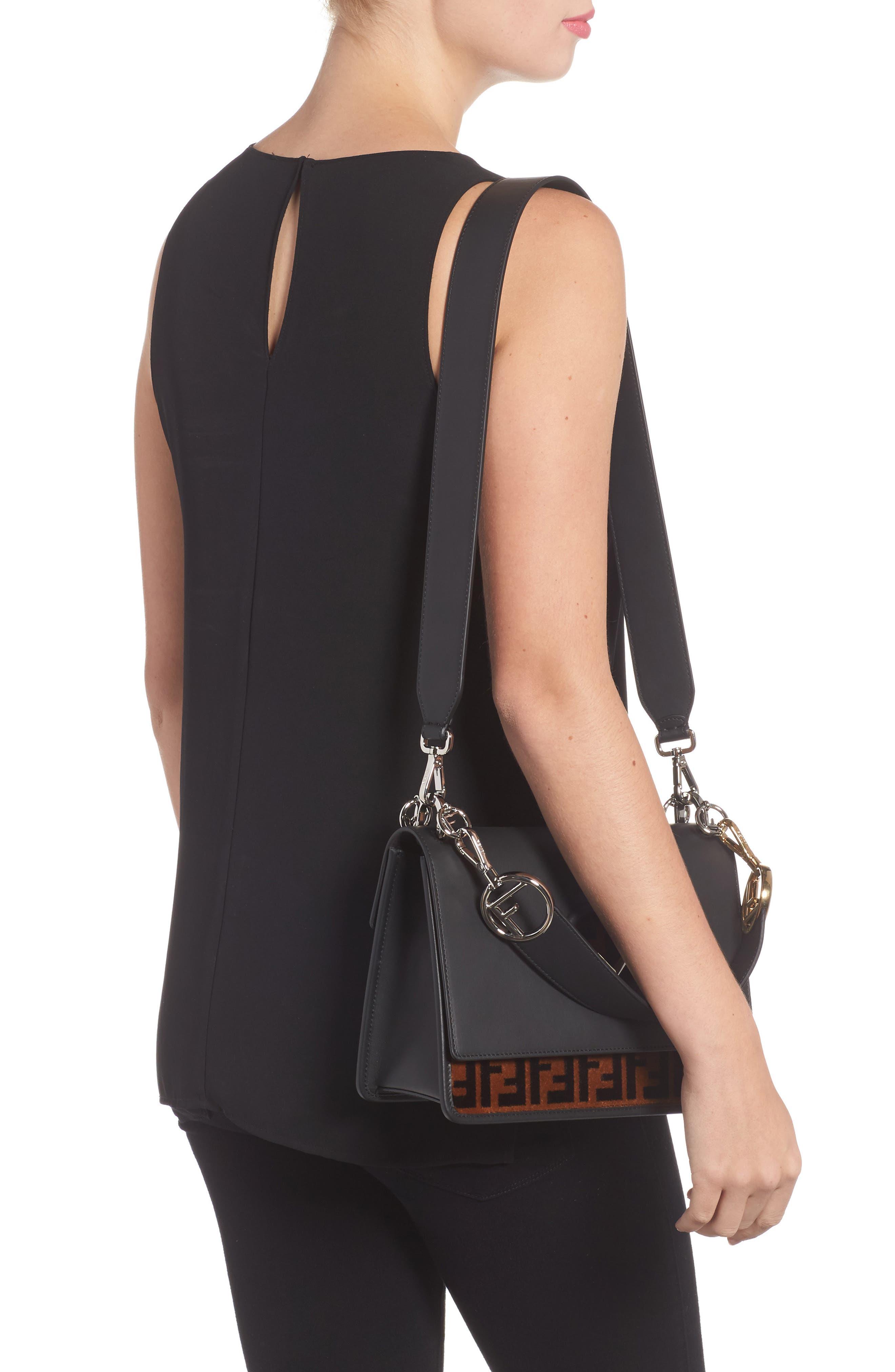 Alternate Image 2  - Fendi Kan I Logo Tappetino Leather & Velvet Shoulder Bag