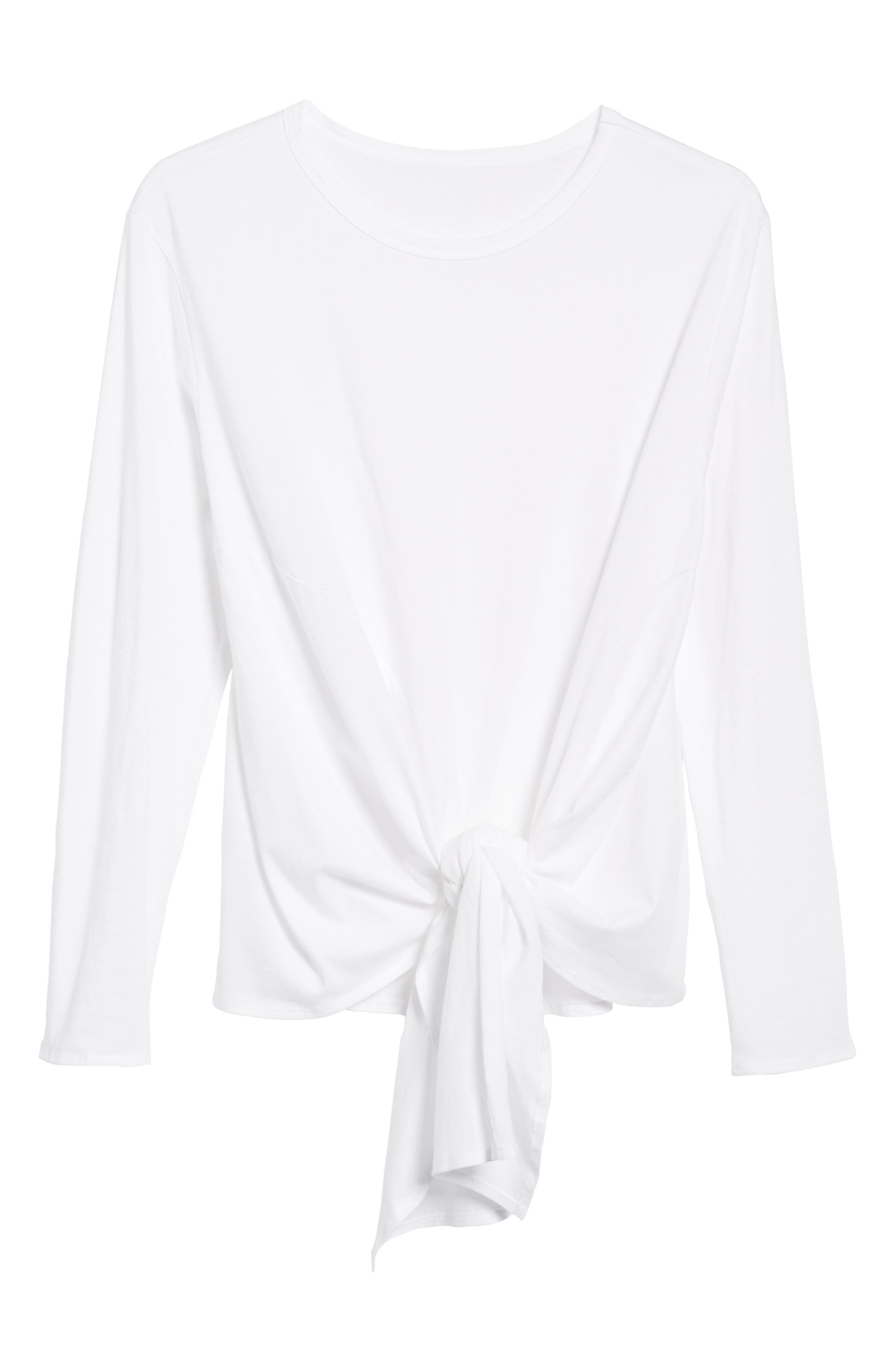 Long Sleeve Side Tie Tee,                             Alternate thumbnail 6, color,                             White