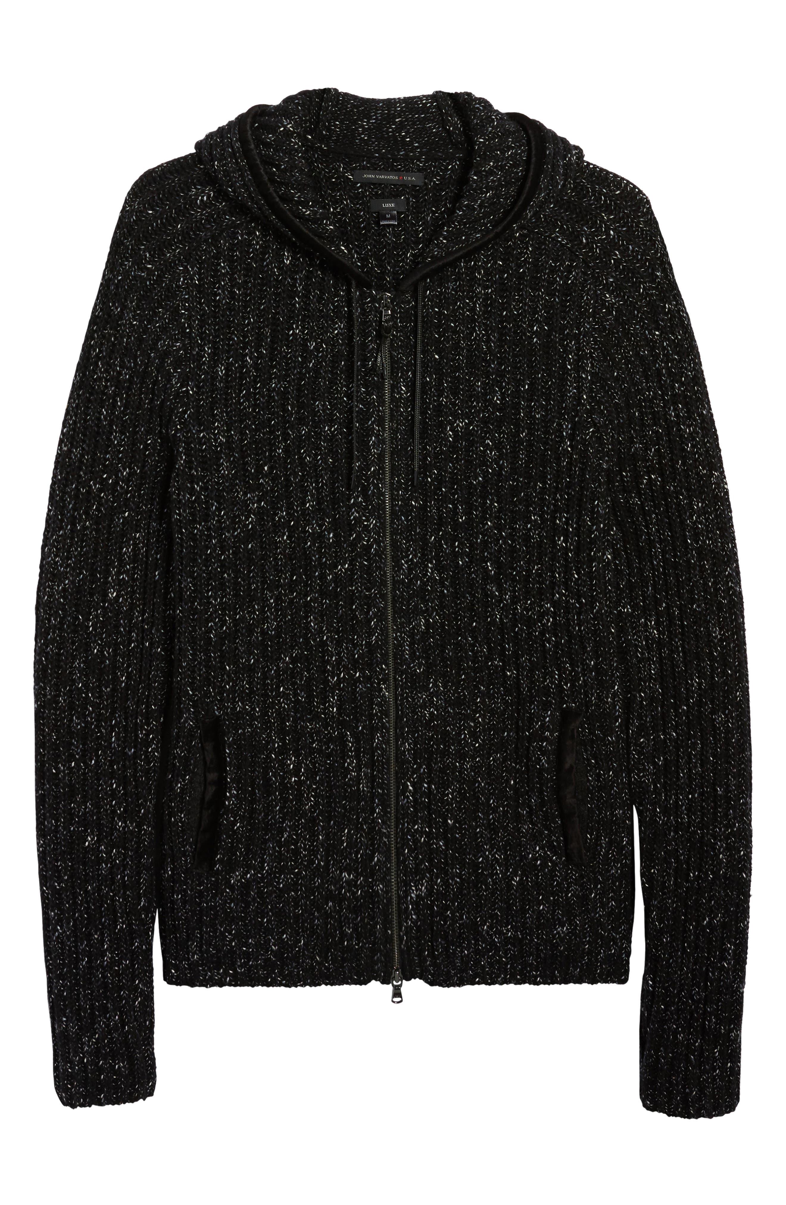 Ribbed Wool Zip Hoodie,                             Alternate thumbnail 6, color,                             Black