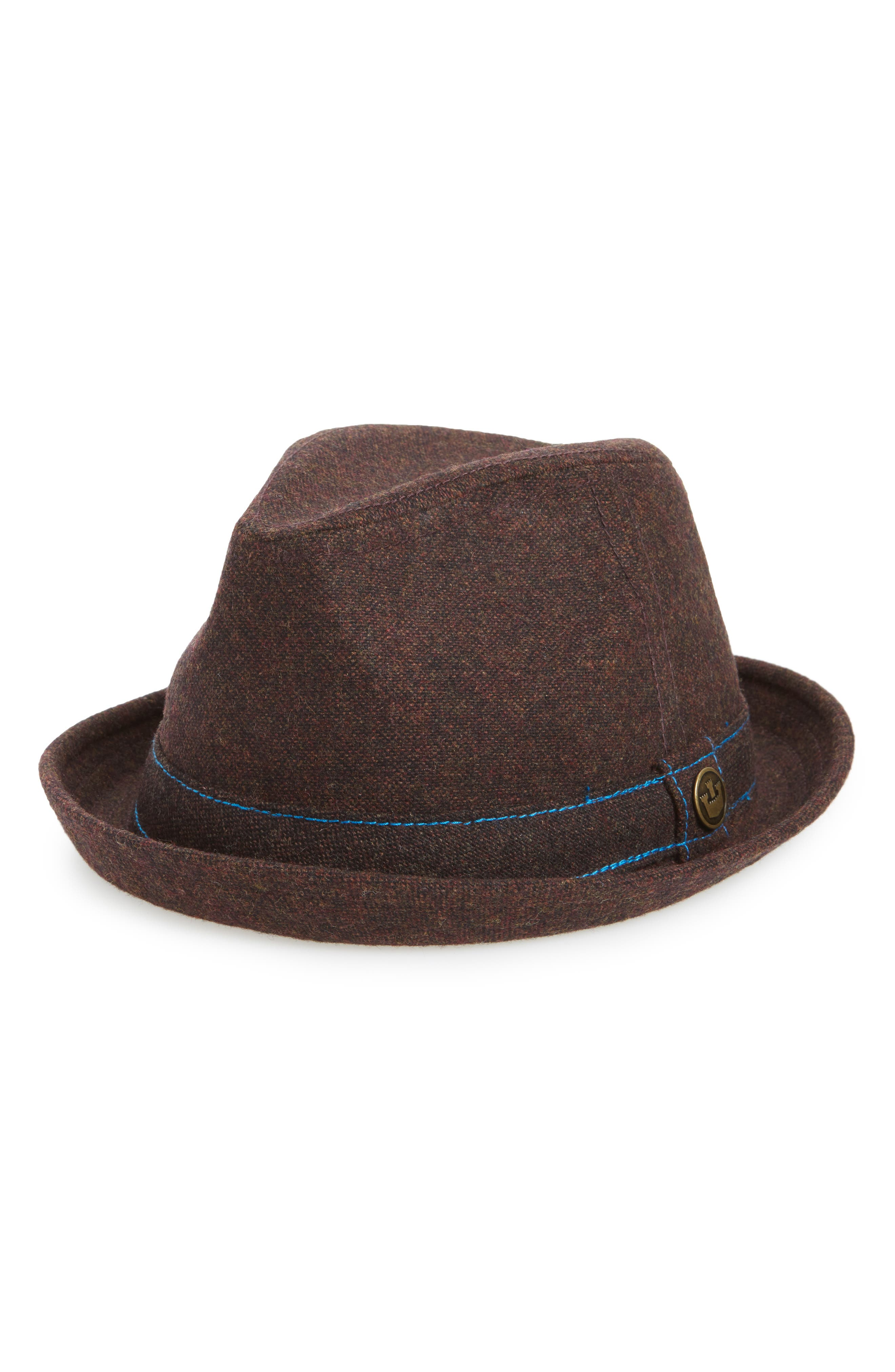 The Barber Wool Blend Fedora,                             Main thumbnail 1, color,                             Coffee