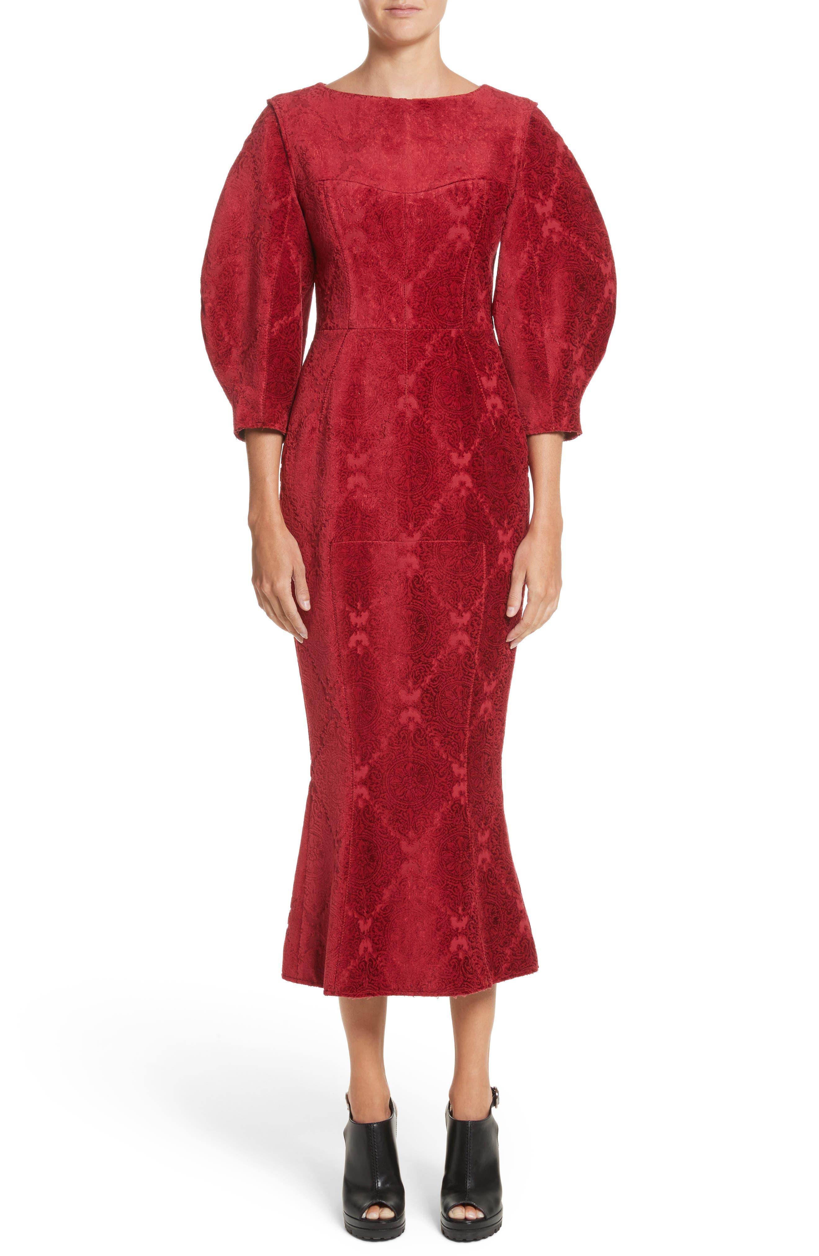 Detachable Sleeve Flocked Velvet Dress,                         Main,                         color, Red Base